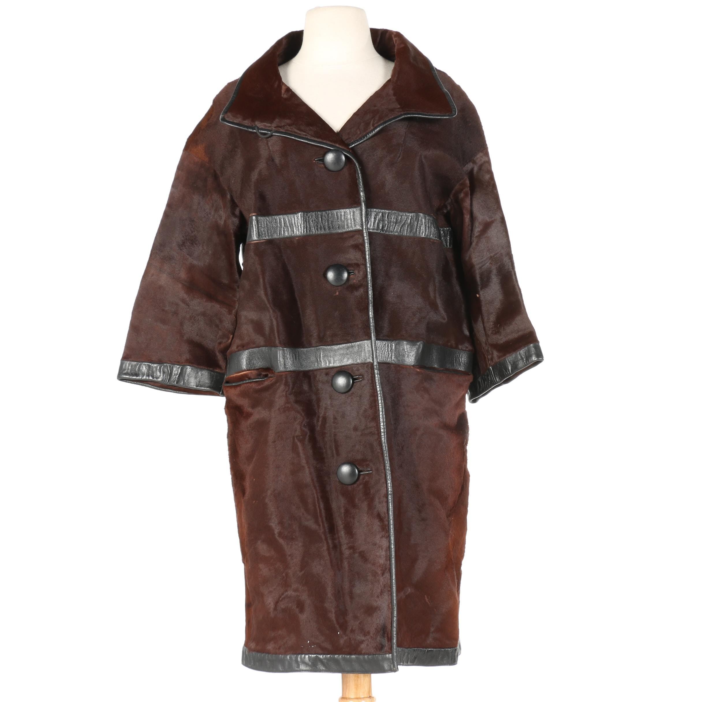 Women's Brown Cowhide Button-Up Coat