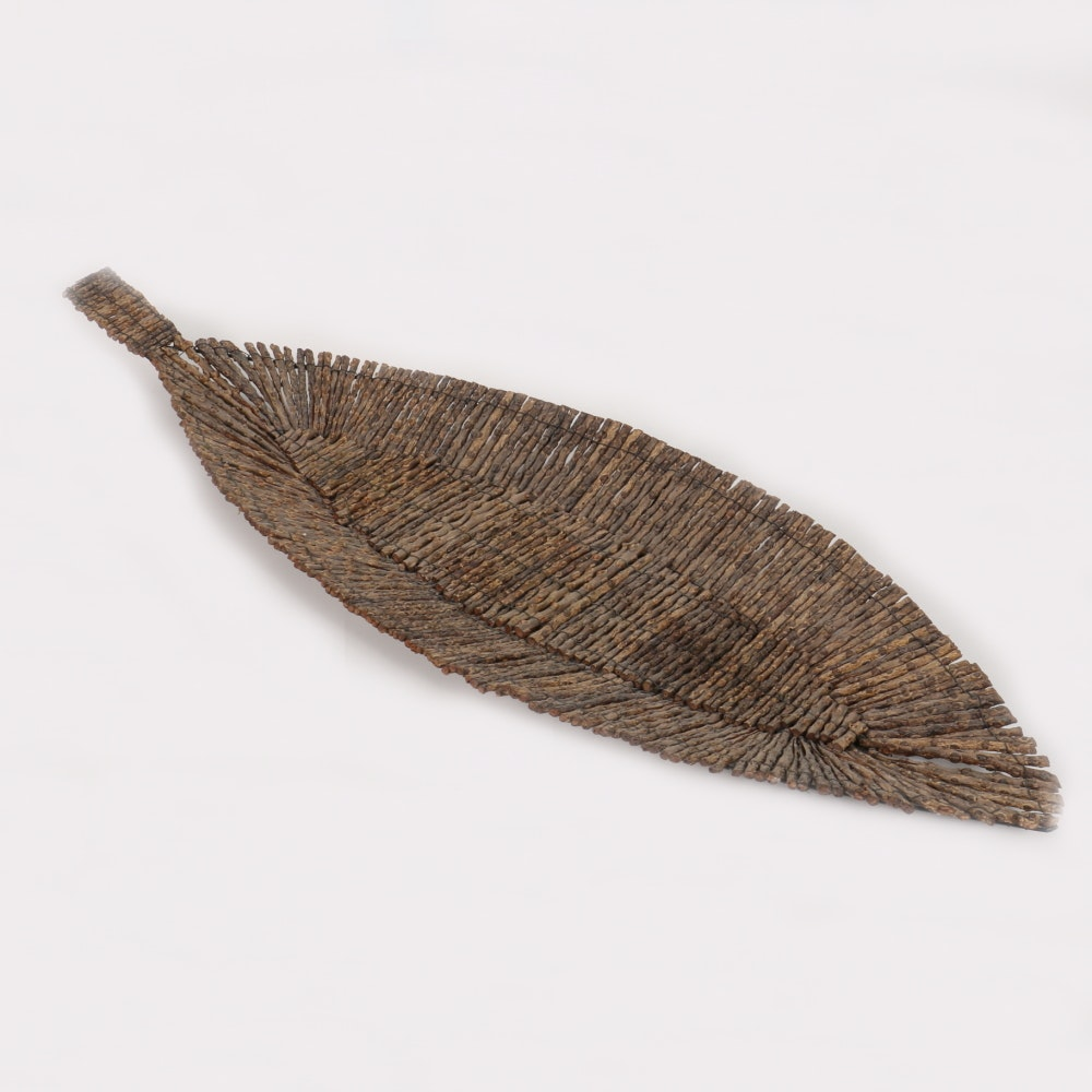 Sculptural Leaf Formed of Short Twigs