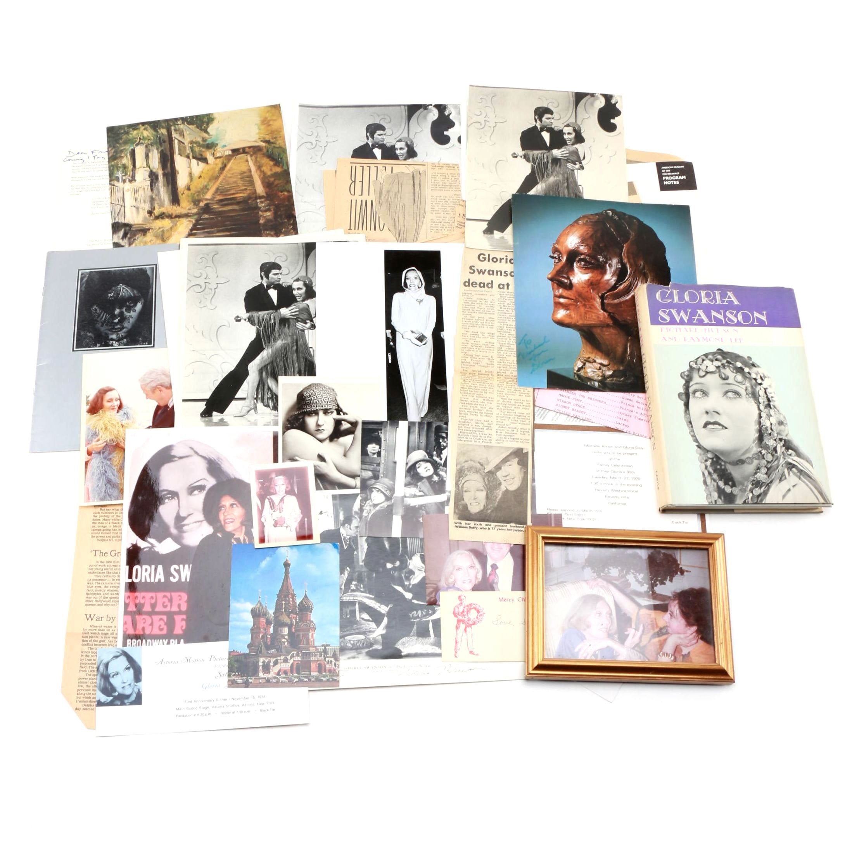 Gloria Swanson Memorabilia and Ephemera Including Signed Lobby Card