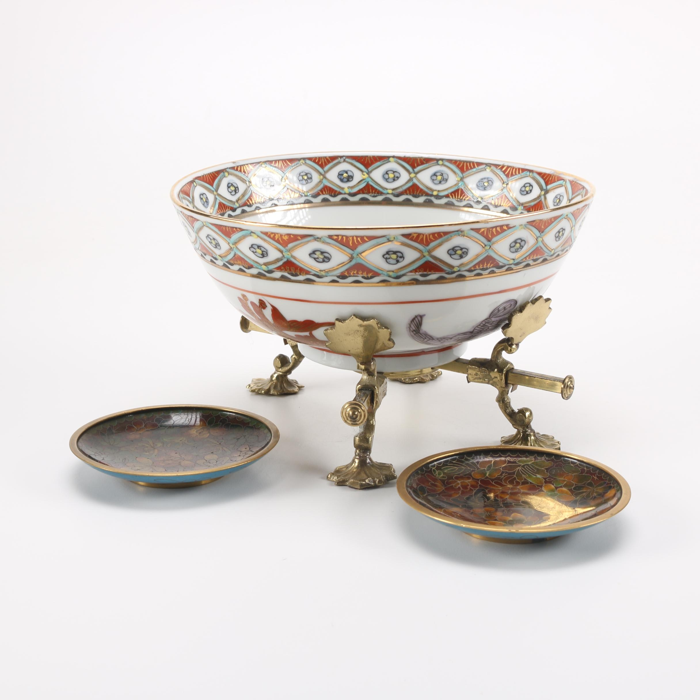 Chinese Porcelain Bowl With Brass Stand and Cloisonné Dishes