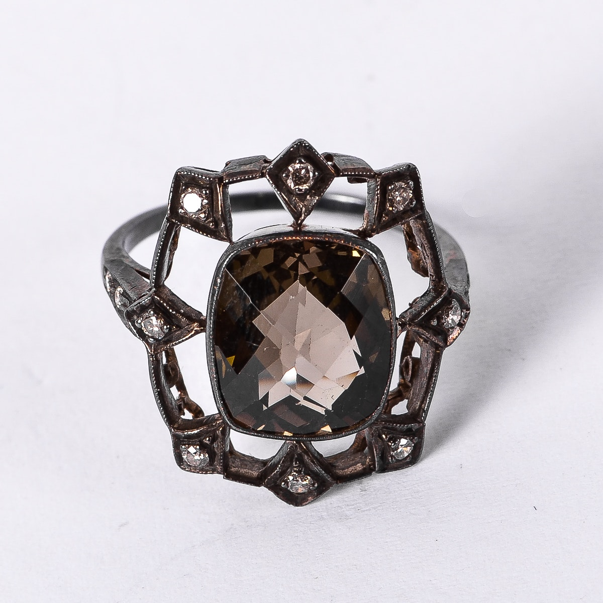 Oxidized 18K White Gold, Citrine, and Diamond Ring
