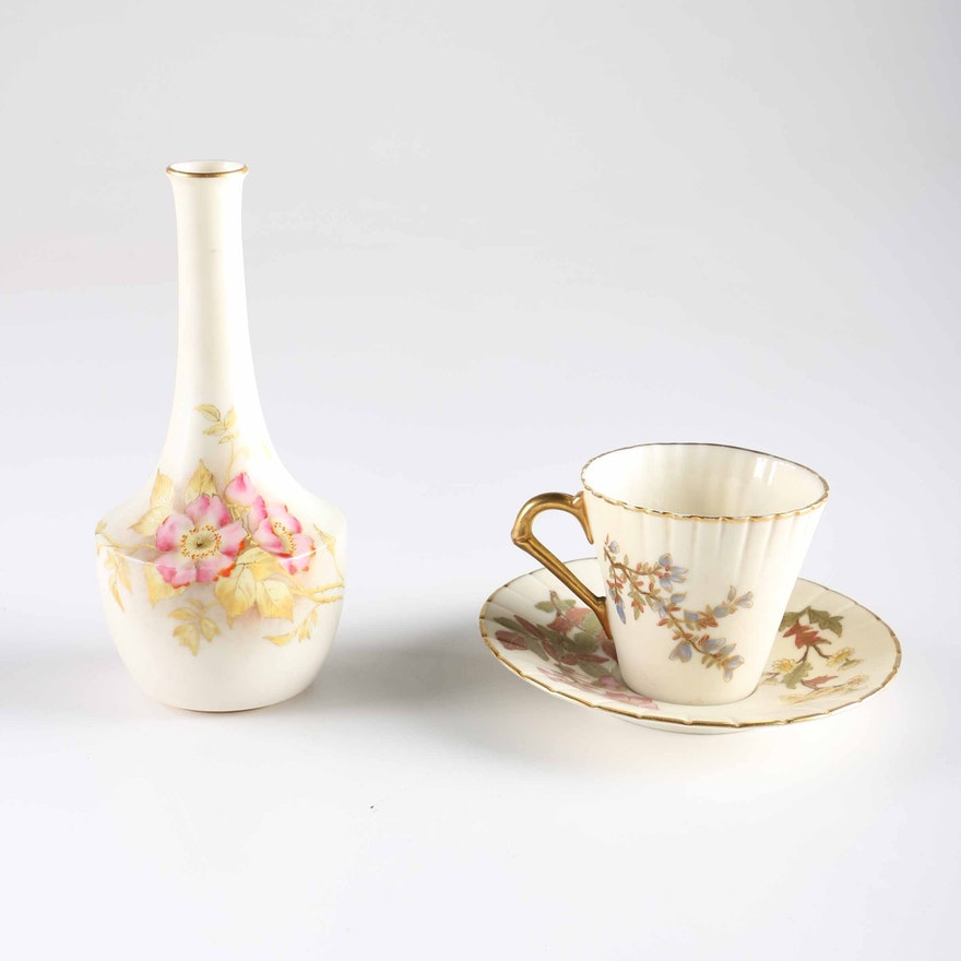 Antique Worcester Porcelain Vase Teacup And Saucer Ebth