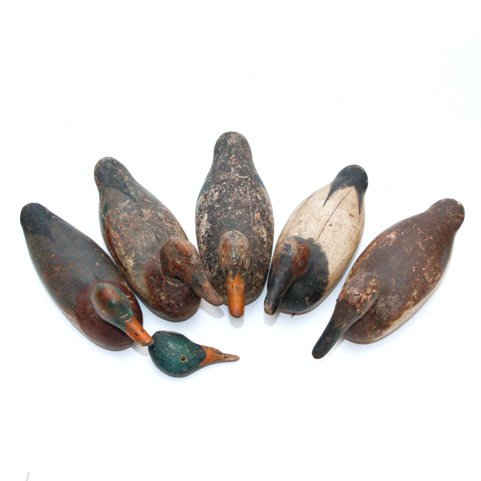 Late 19th Century Handmade Duck Decoy Woodcarvings