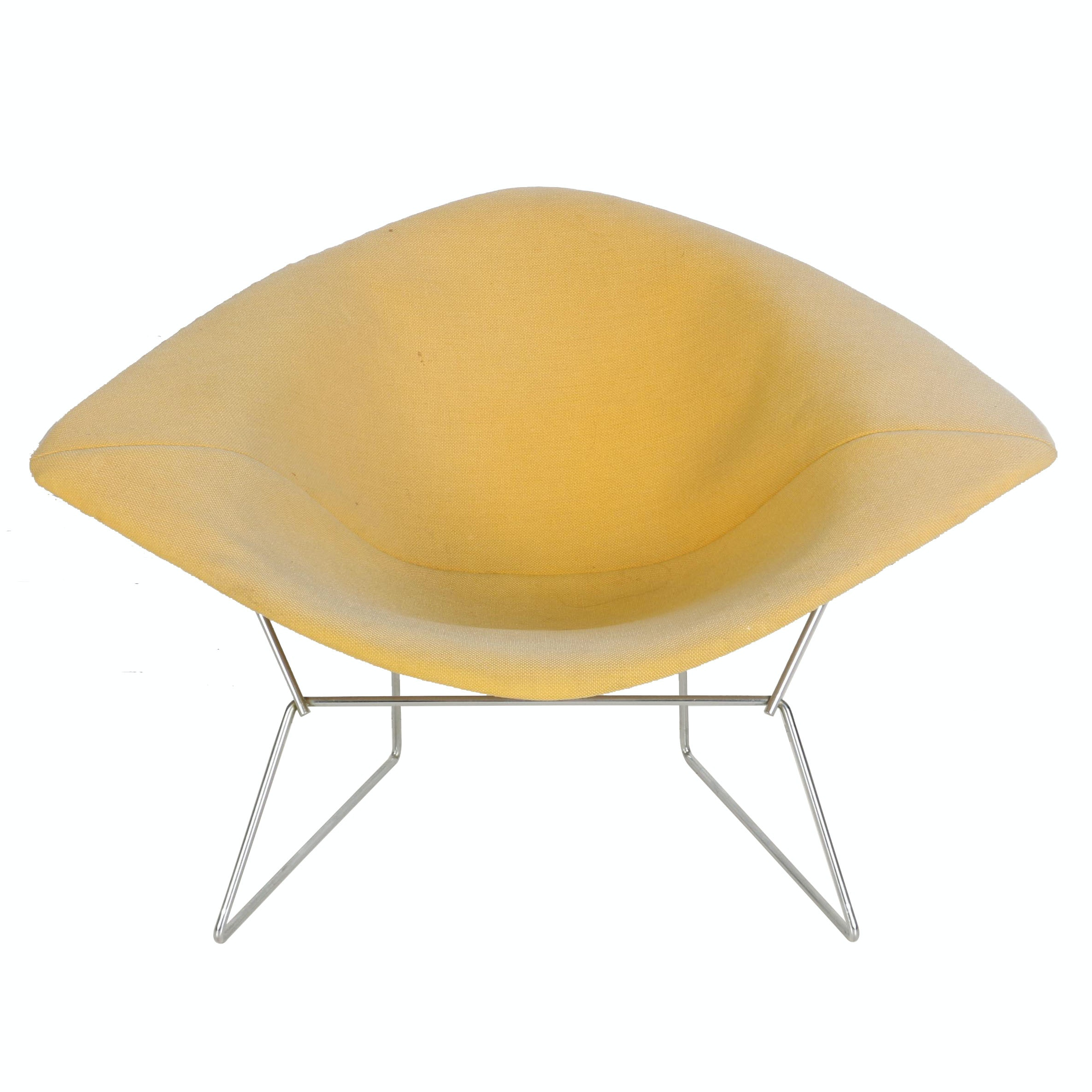 "Mid Century Modern Yellow ""Diamond"" Lounge Chair by Harry Bertoia for Knoll"
