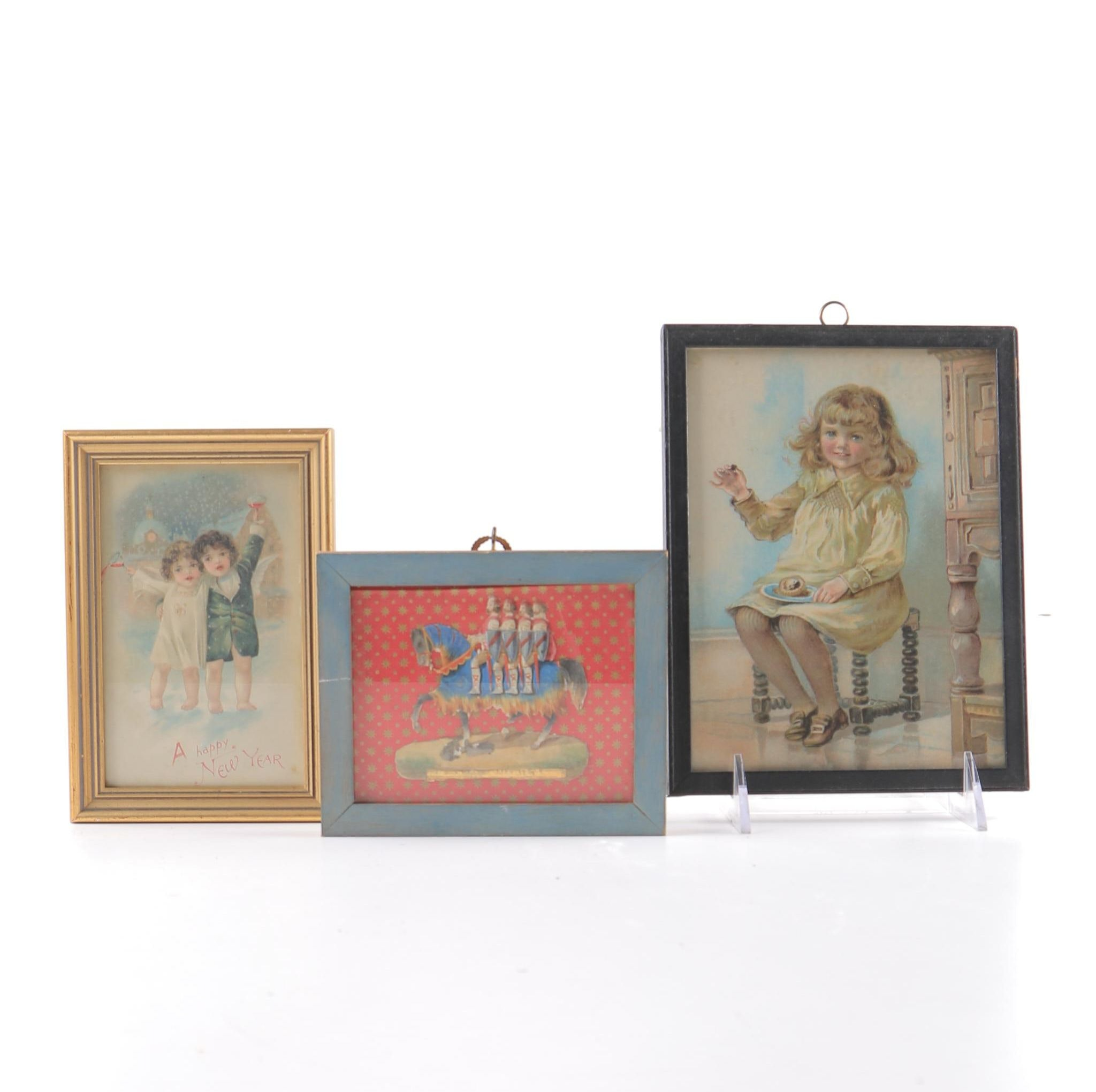 Chromolithograph Prints and Hand-Colored Knight Artwork
