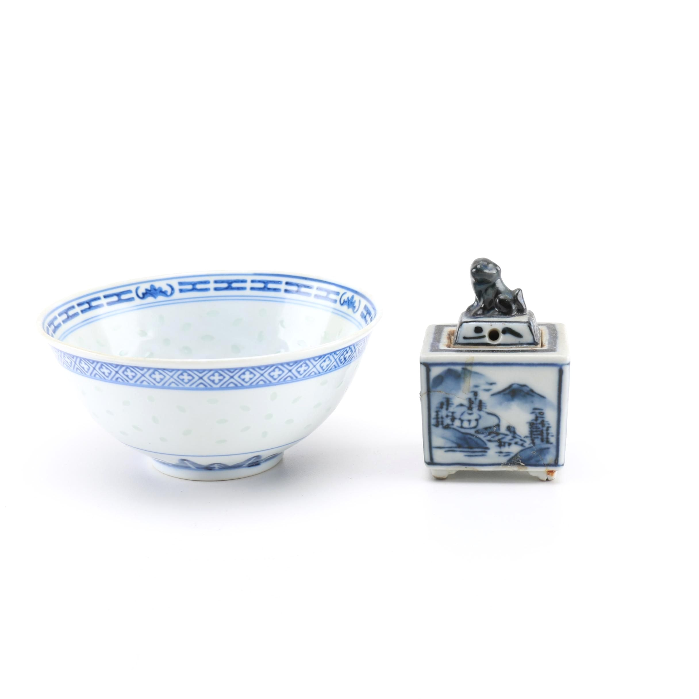 Chinese Blue and White Porcelain Bowl and Box