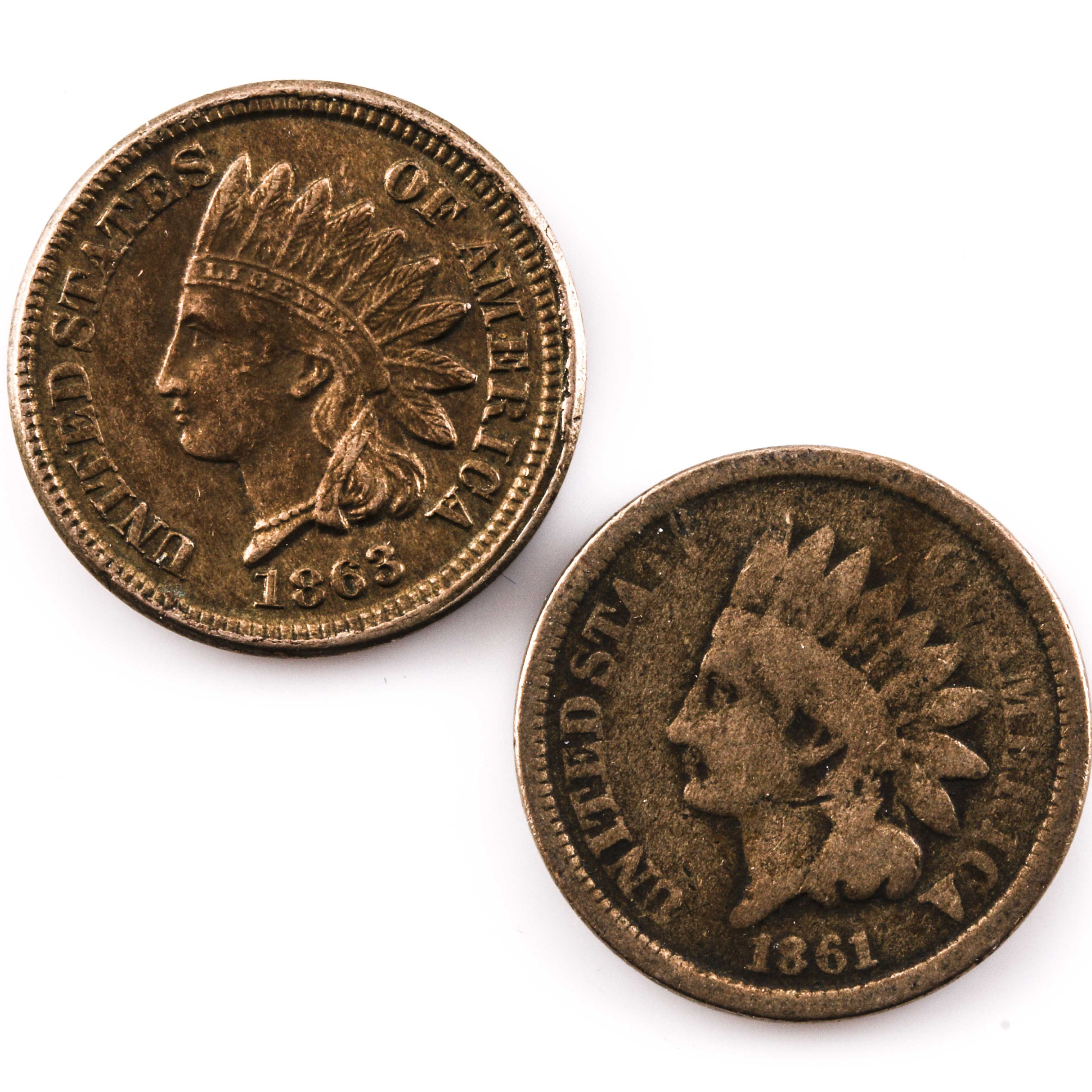 Two Copper-Nickel Indian Head Cents
