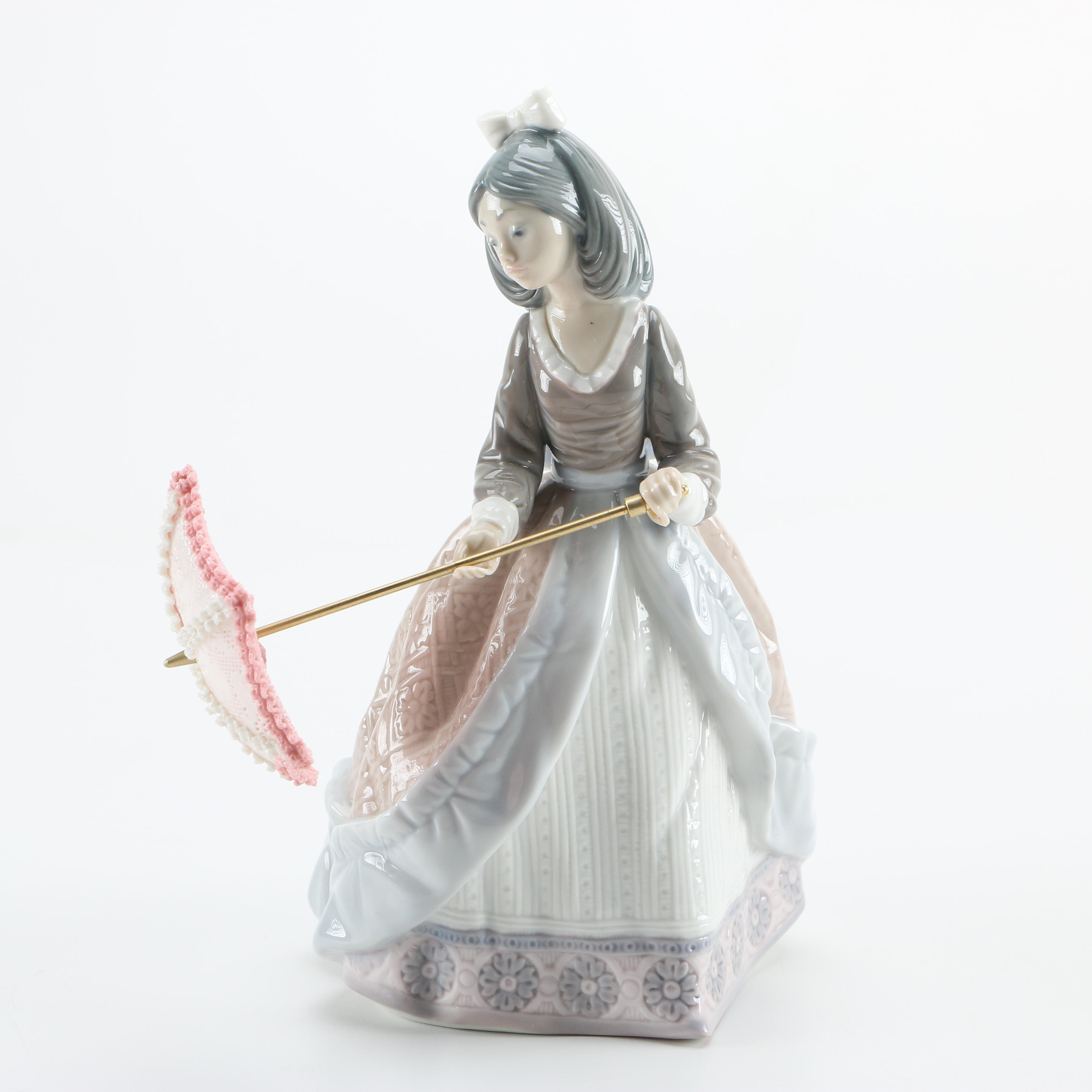 Lladró Figurine of a Girl With an Open Umbrella