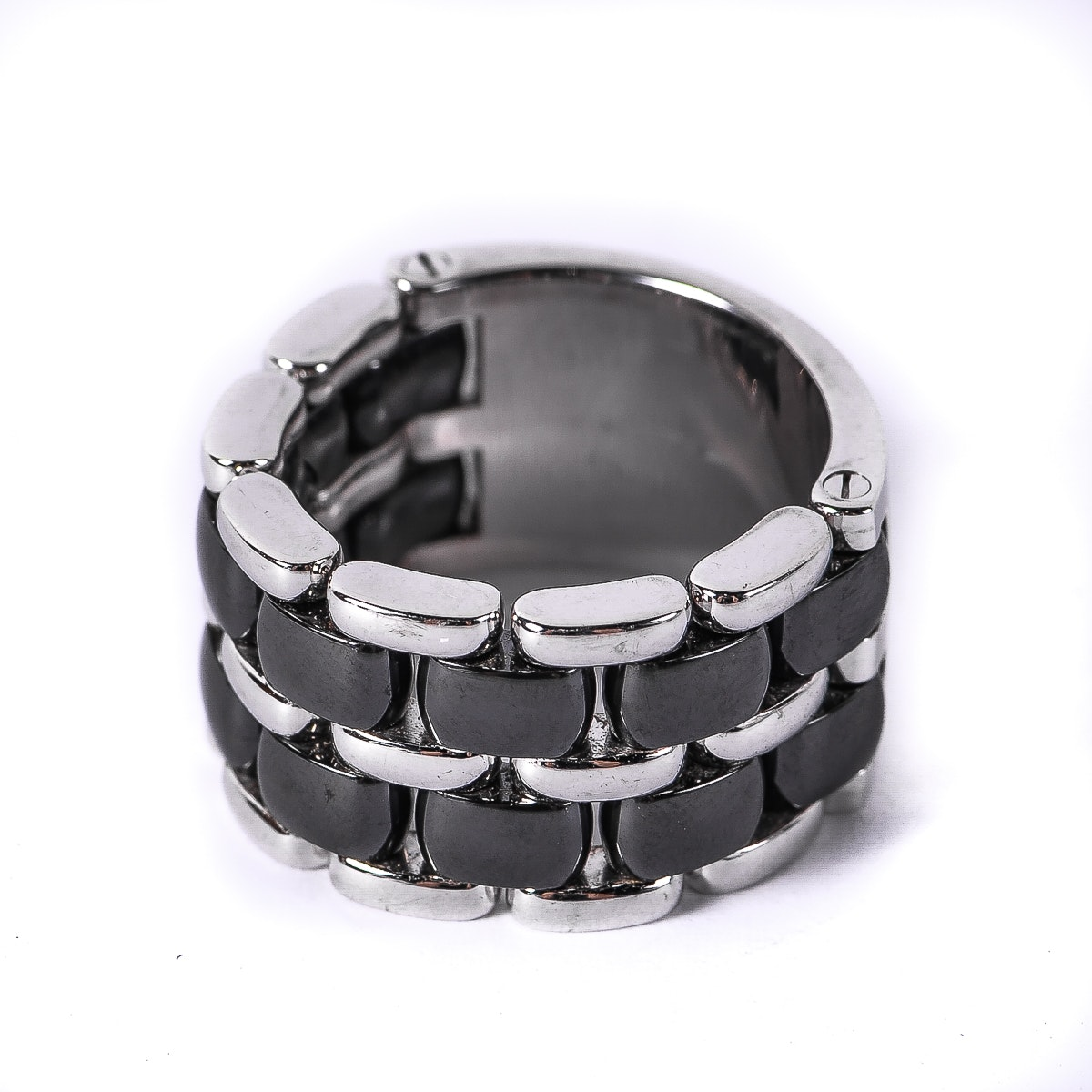 "Chanel ""Ultra"" 18K White Gold and Black Ceramic Ring"