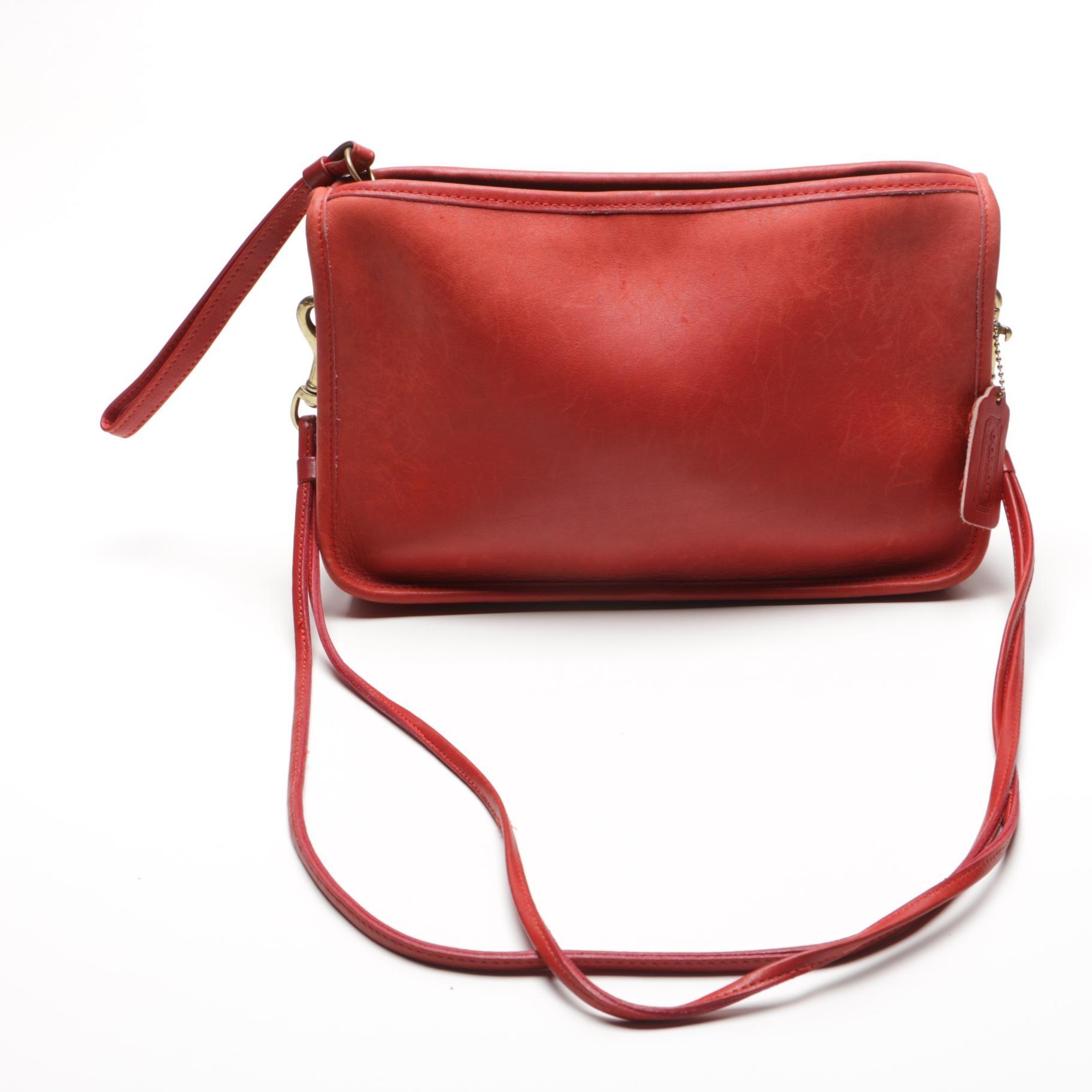 Vintage Coach Shoulder Bag in Red Leather