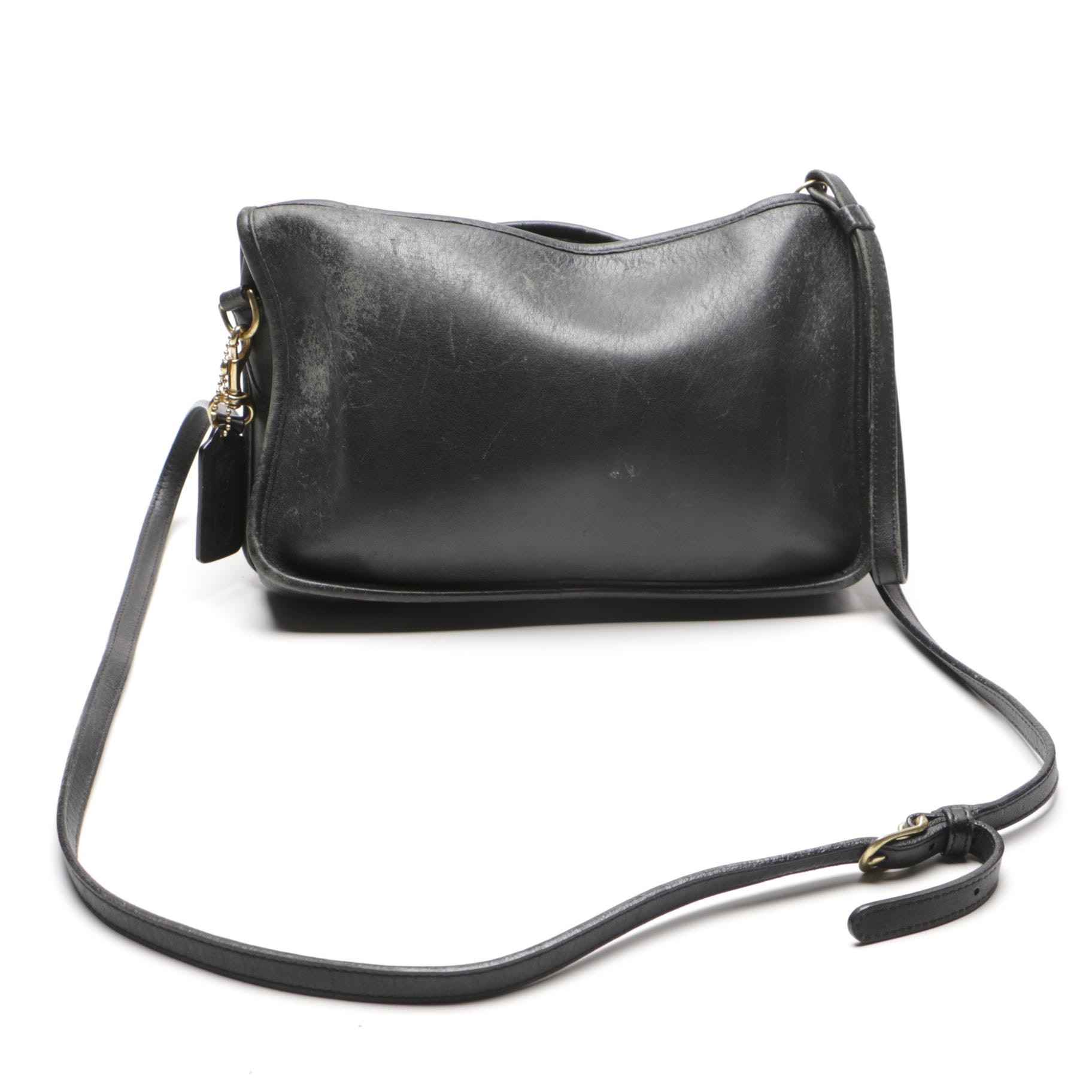 Black Leather Coach Bag and Burgundy Wallet