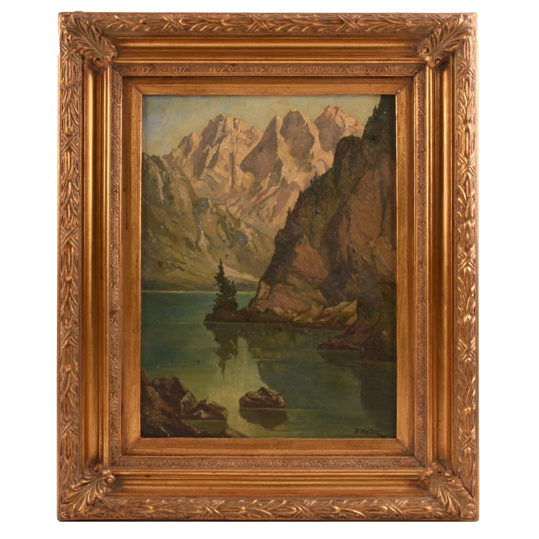 Fritz P. Haller Original Oil on Board of the Swiss Alps