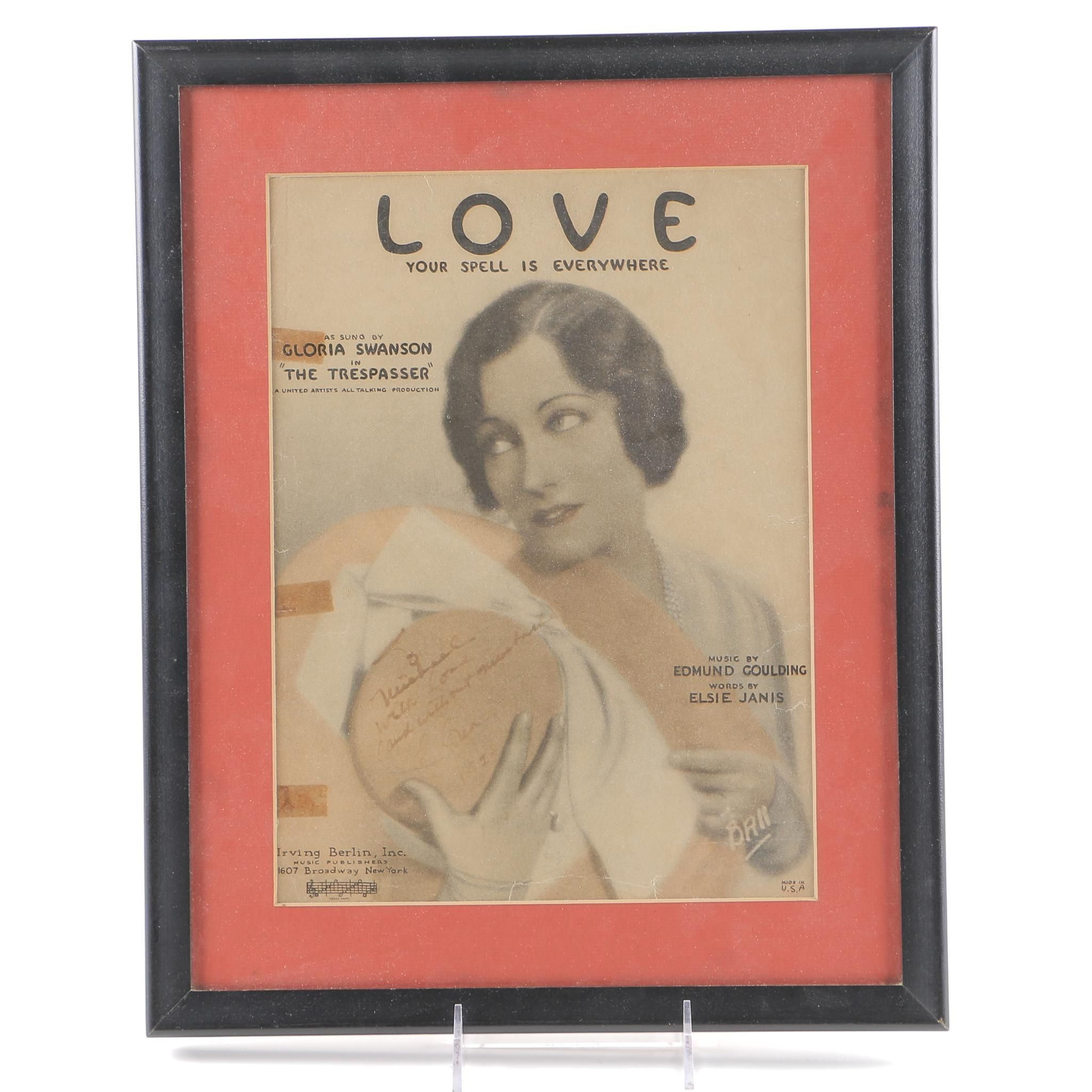 Gloria Swanson Signed Sheet Music Cover