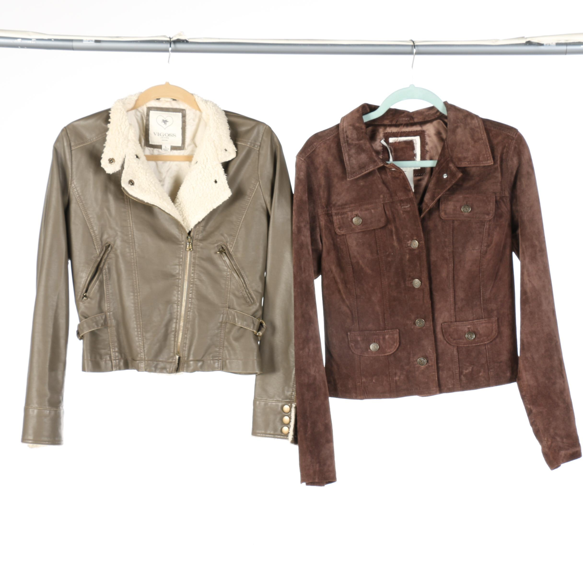 Faux Leather and Suede Coats