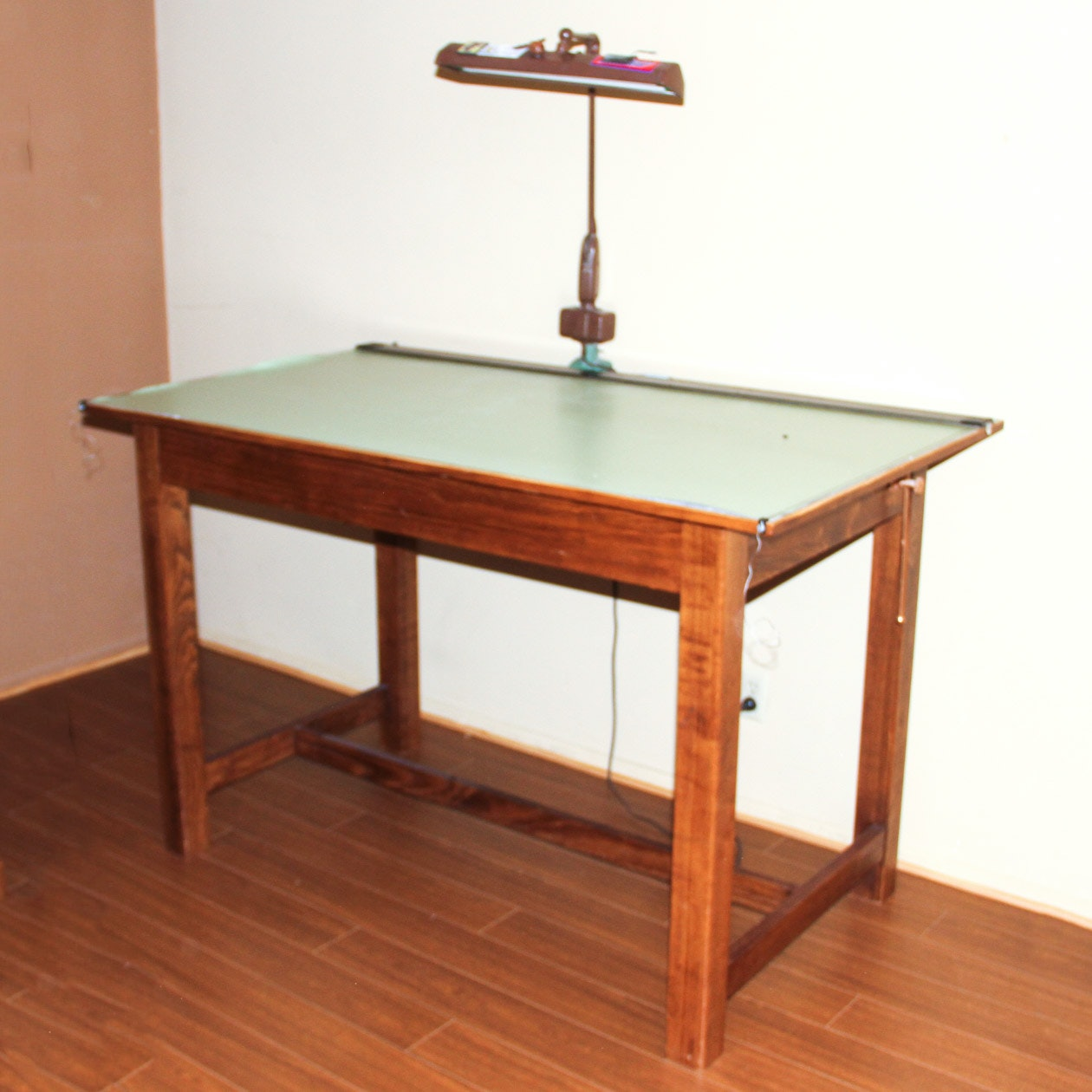 Vintage Drafting Table with Lamp