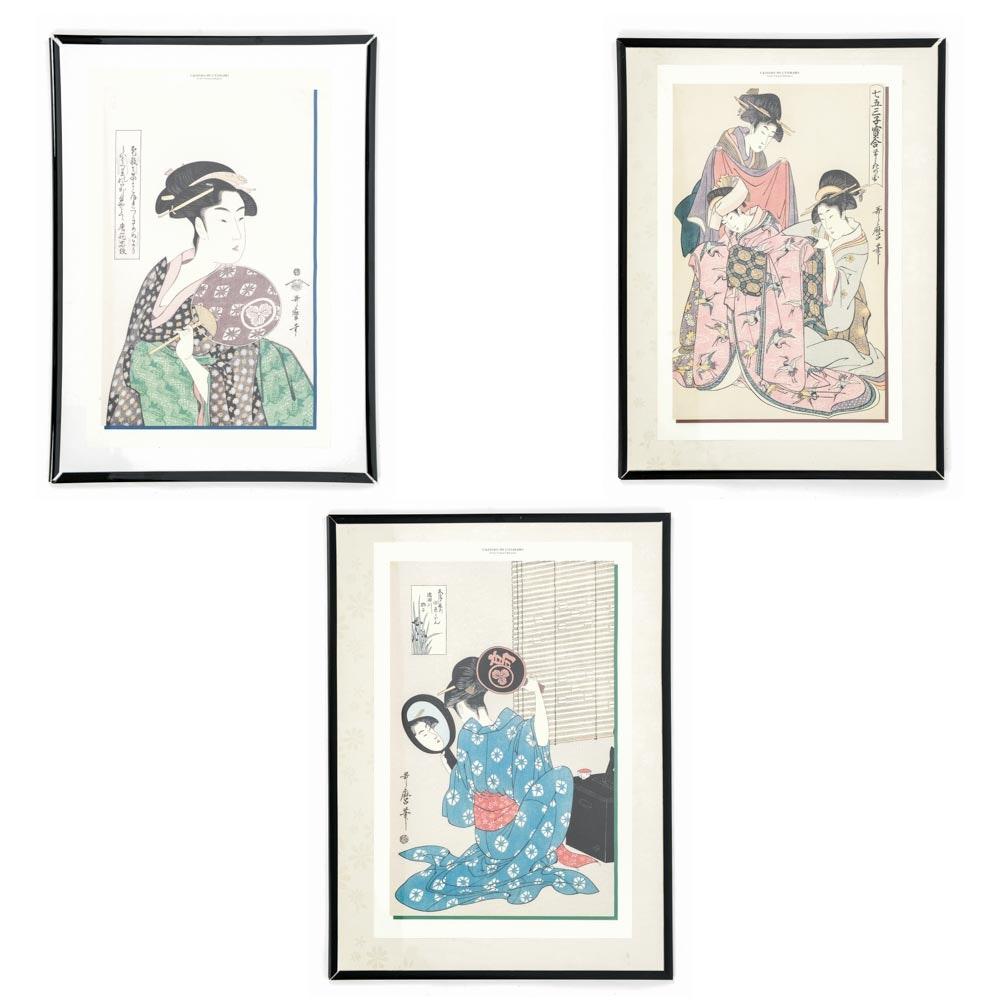 Framed Prints After Utamaro Ukiyo-e Woodblock Prints