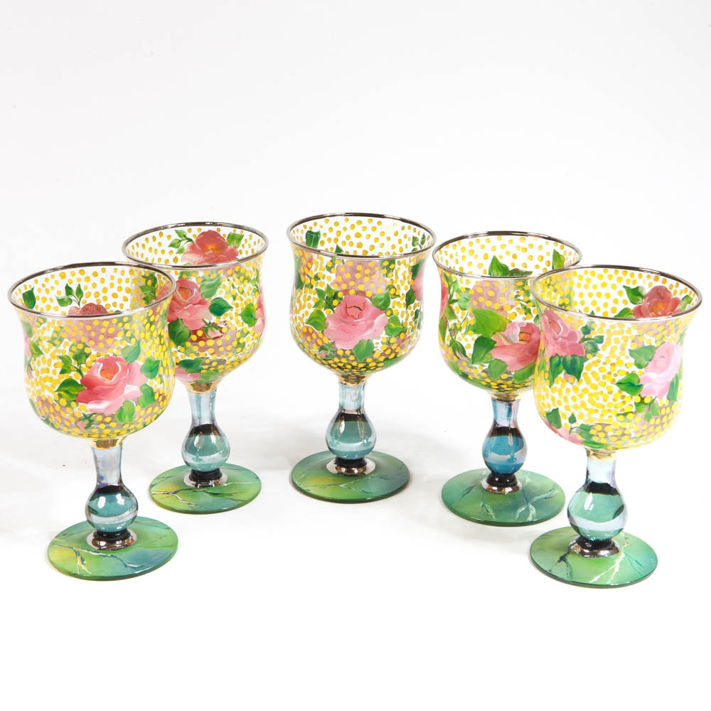 """Mackenzie-Childs """"Circus"""" Hand-Painted Glass Water Goblets"""