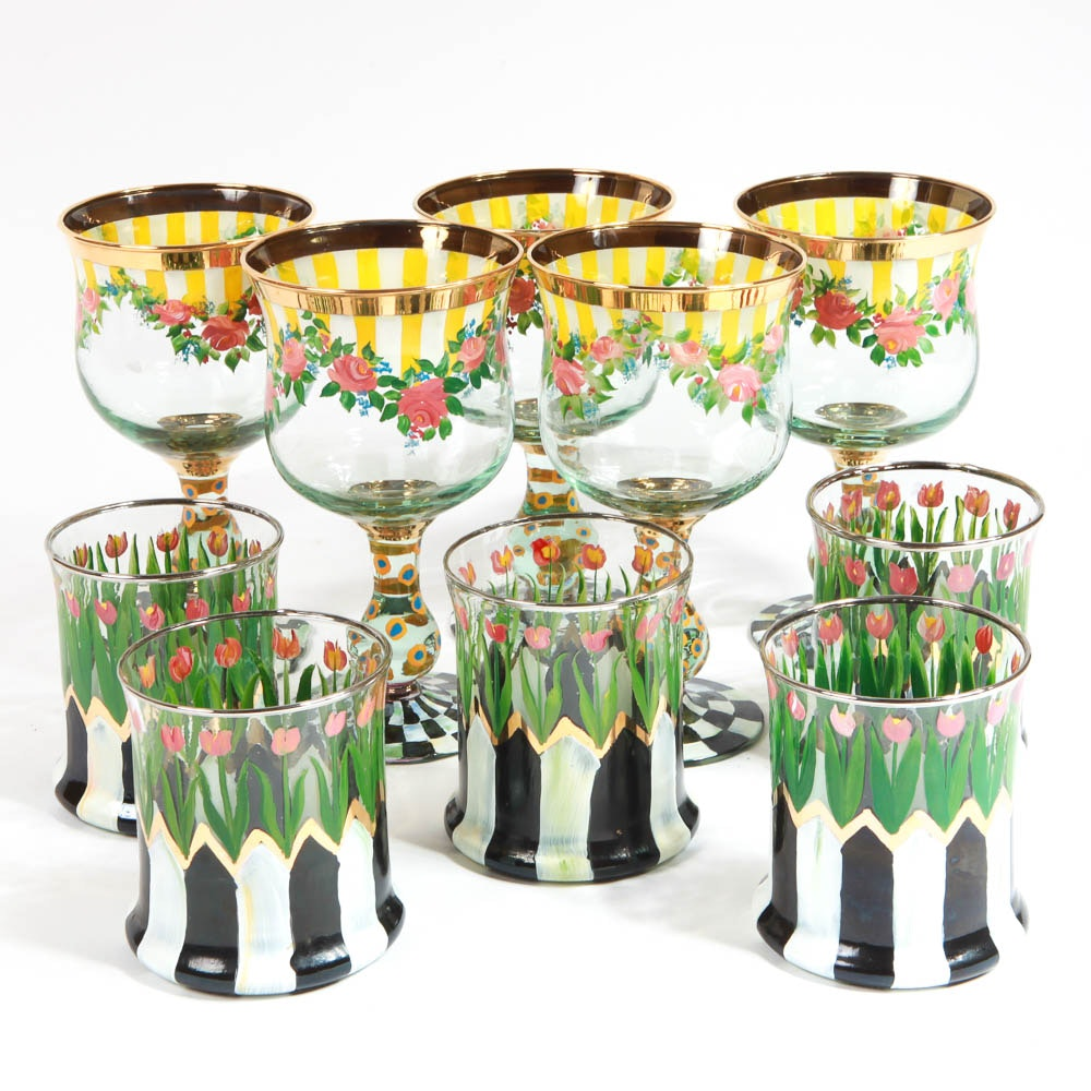 MacKenzie-Childs Floral Glassware