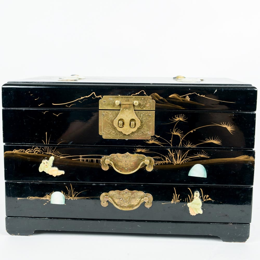 Chinese Black Lacquer Ware Mother of Pearl Jewelry Box