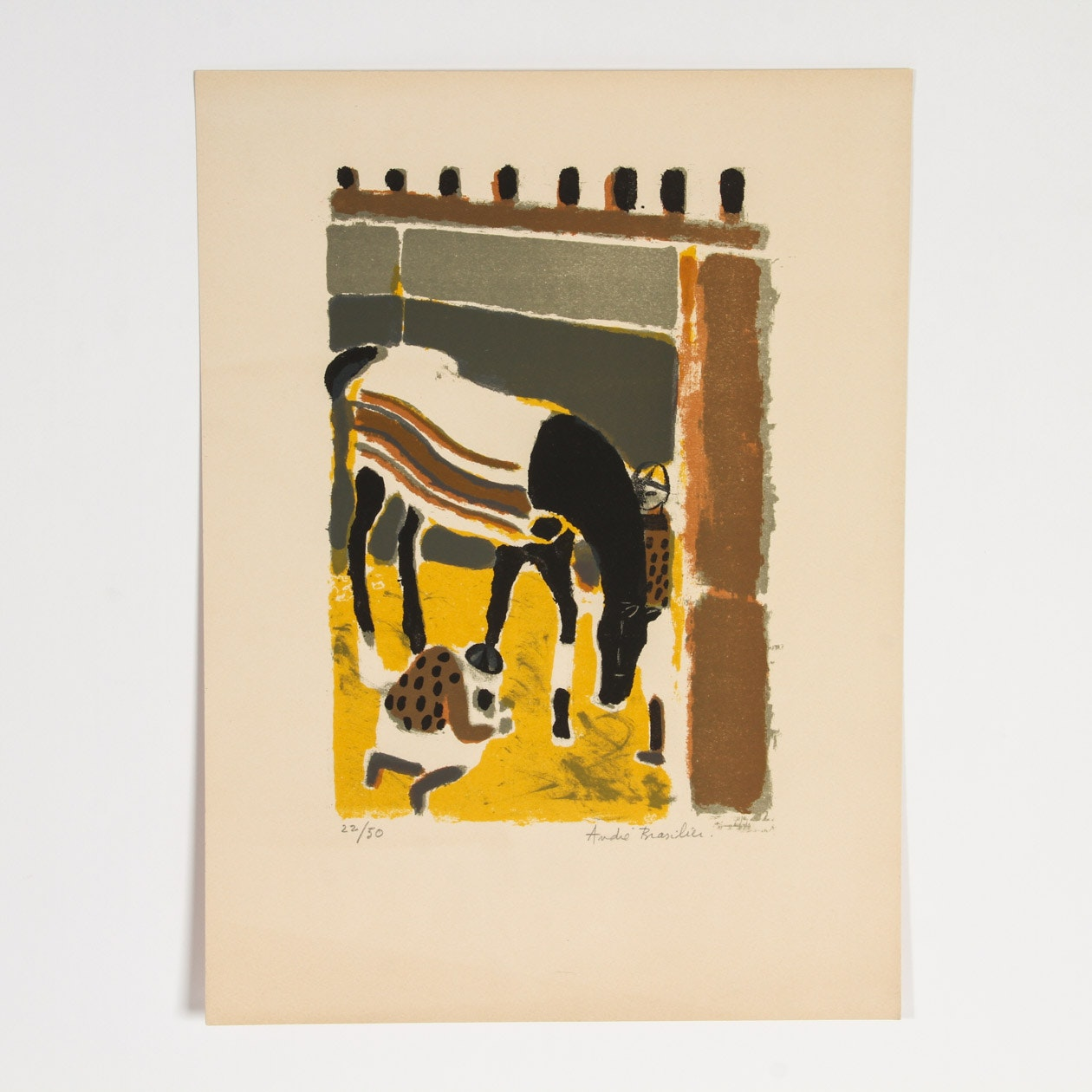 "Andre Brasilier Lithograph on Paper ""Cheval dans son Box"""