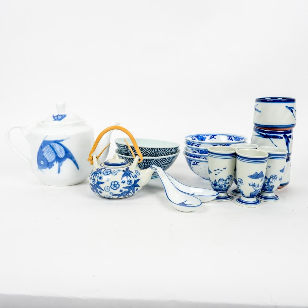 Set of Blue and White East Asian Dishware