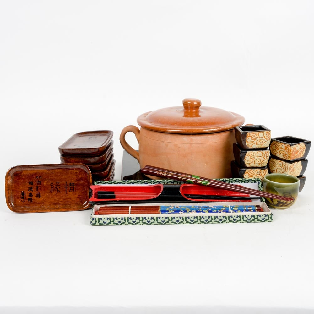 Set of Stoneware Asian Dishes and Chopsticks