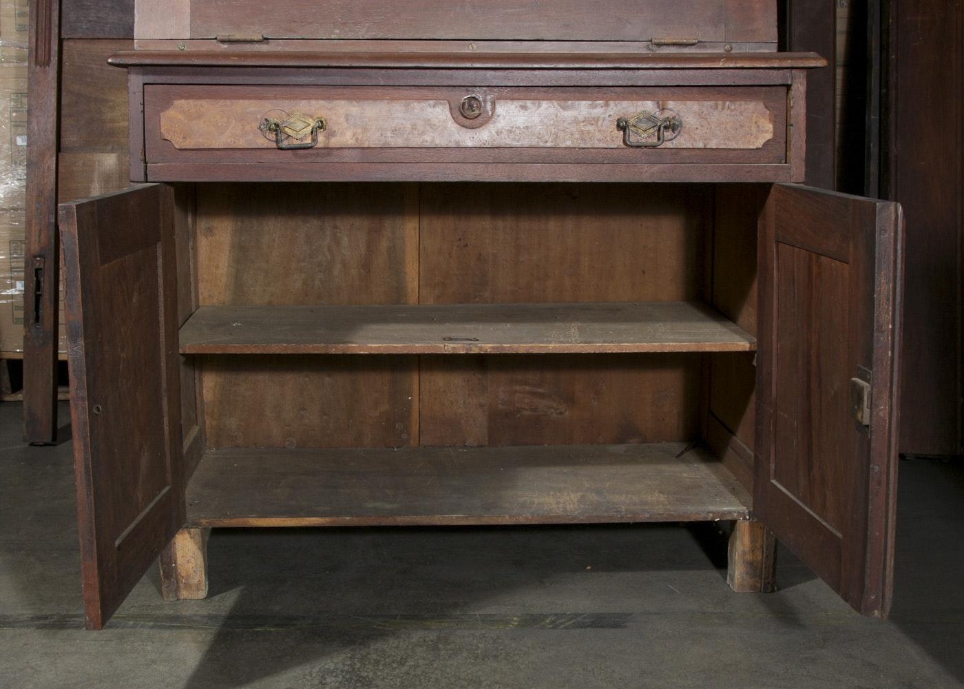 vintage eastlake walnut secretary desk ebth. Black Bedroom Furniture Sets. Home Design Ideas