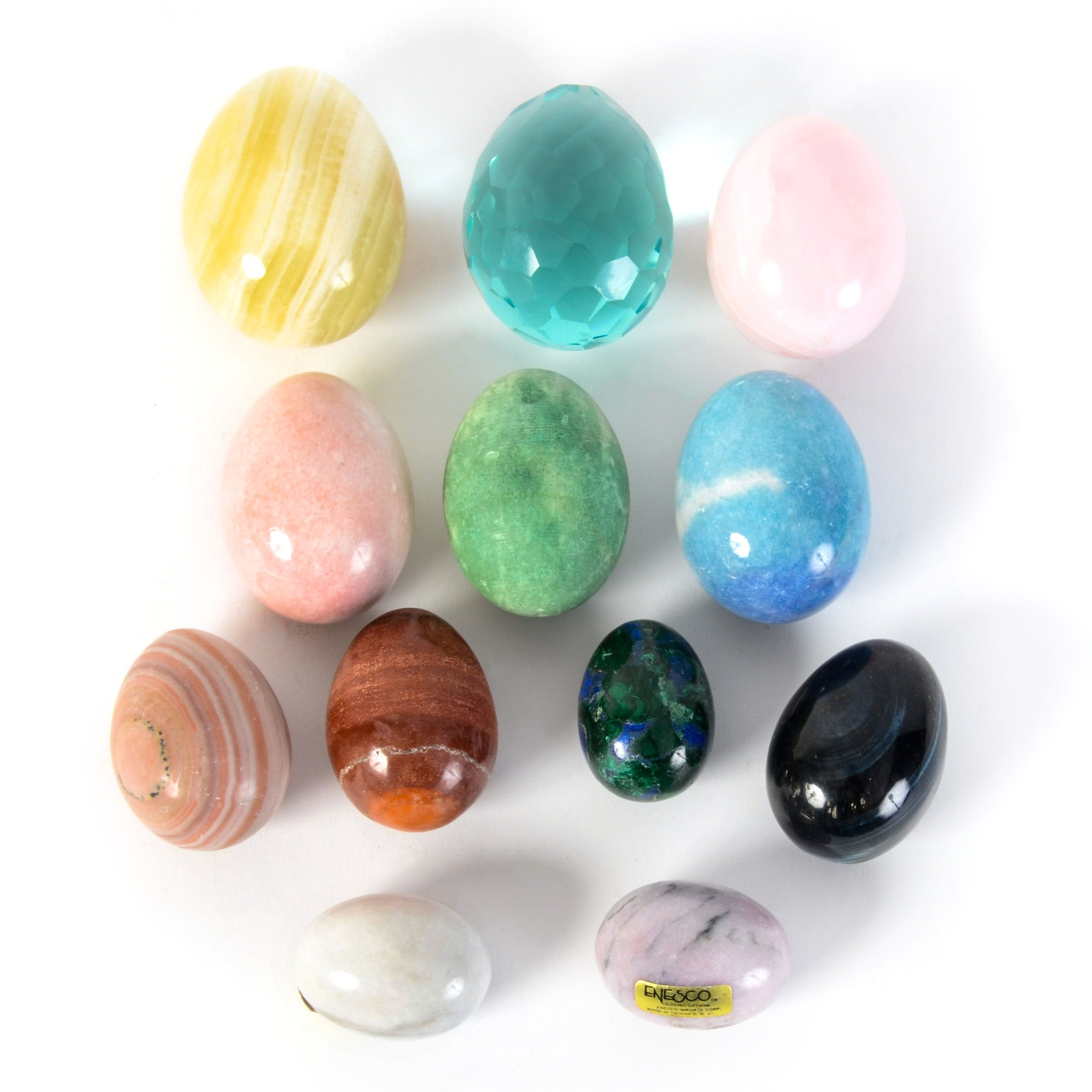 Twelve Semi Precious Stone and Glass Eggs