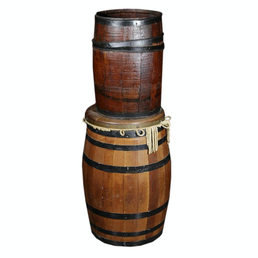Two Decrotive Oak Barrels Ebth