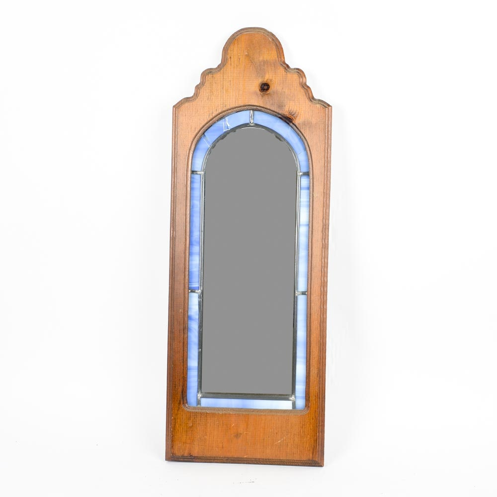 Wooden and Stained Glass Wall Mirror