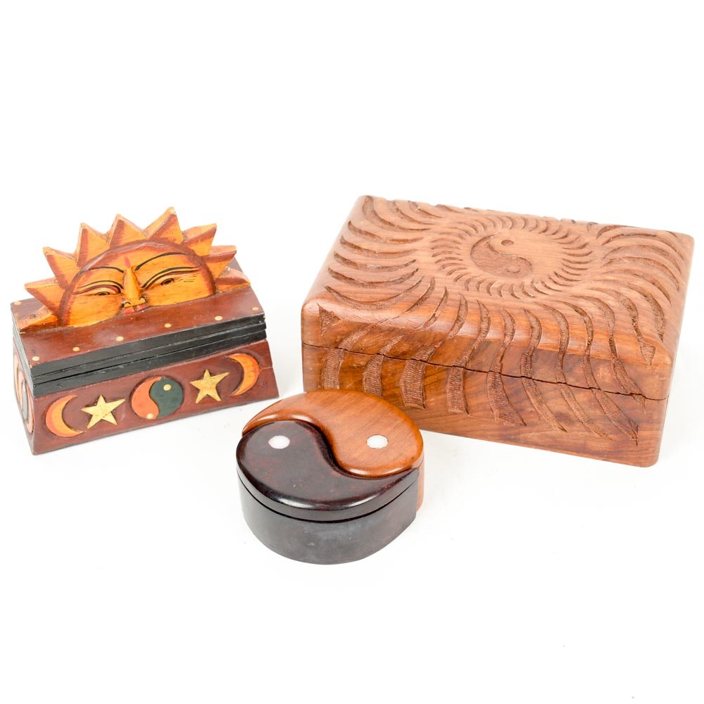Collection of Carved Wooden Boxes
