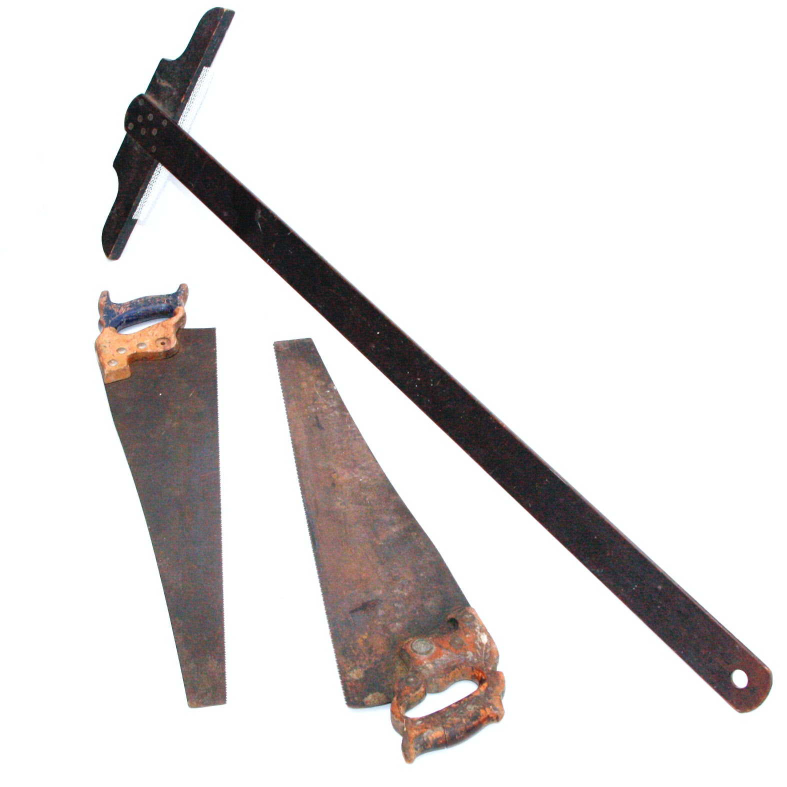 Pair of Antique Hand Saws and T-Measure