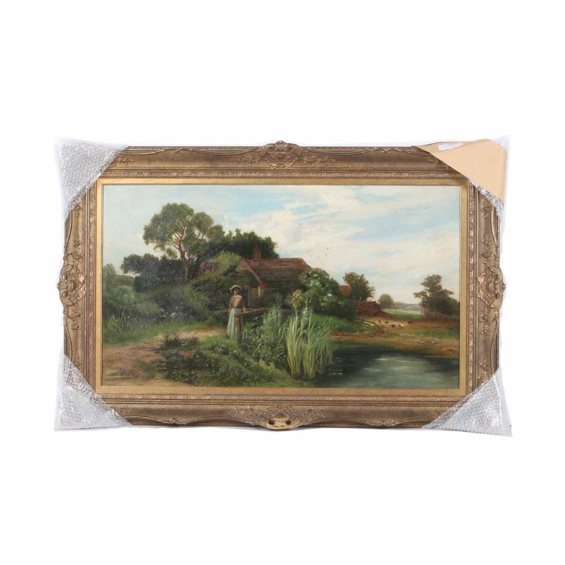 "John Horace Hooper Oil Painting on Canvas ""Figure in Landscape"""