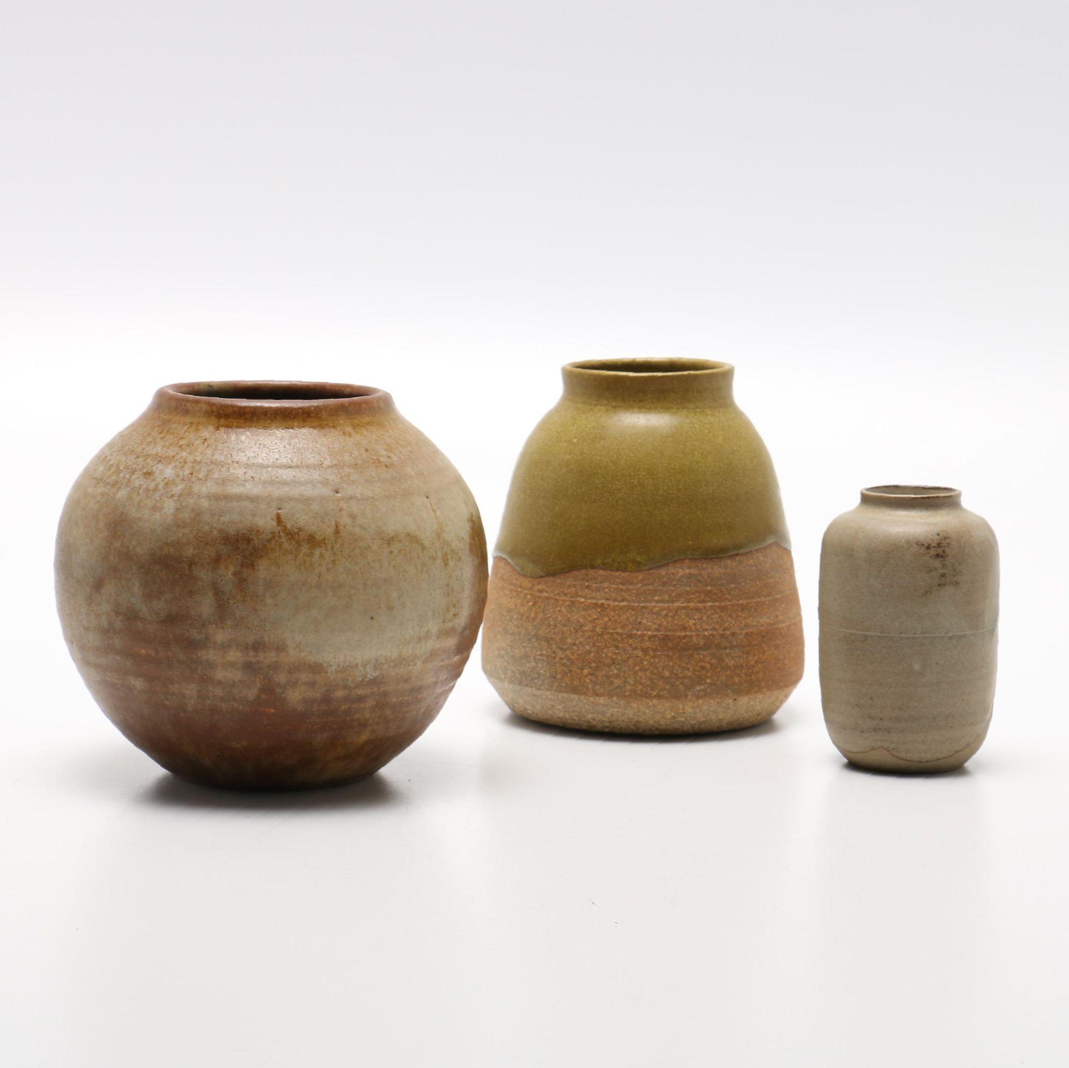 Hand Thrown Stoneware Studio Art Vases