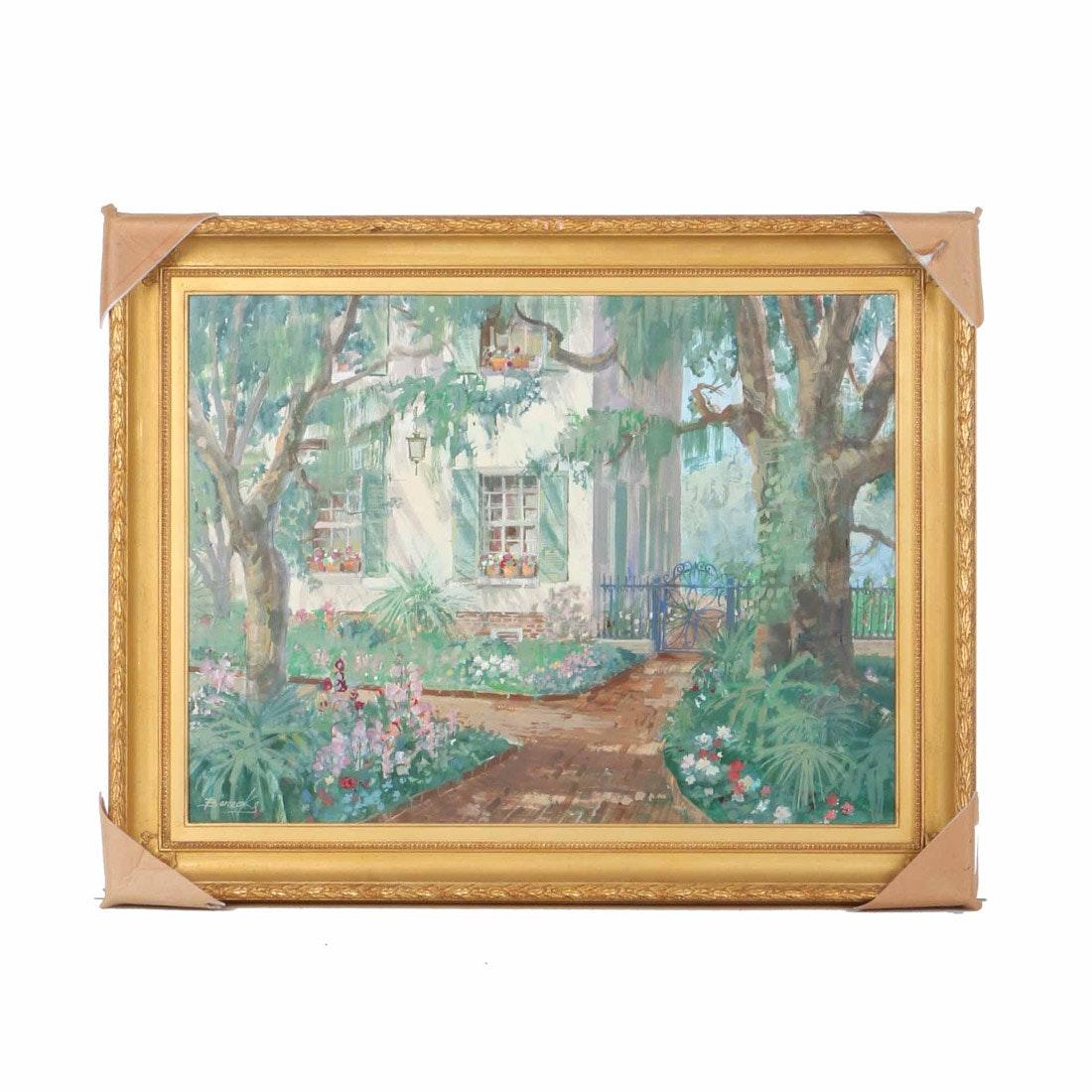 """William Benecke Oil on Canvas """"A Garden in Charleston"""""""