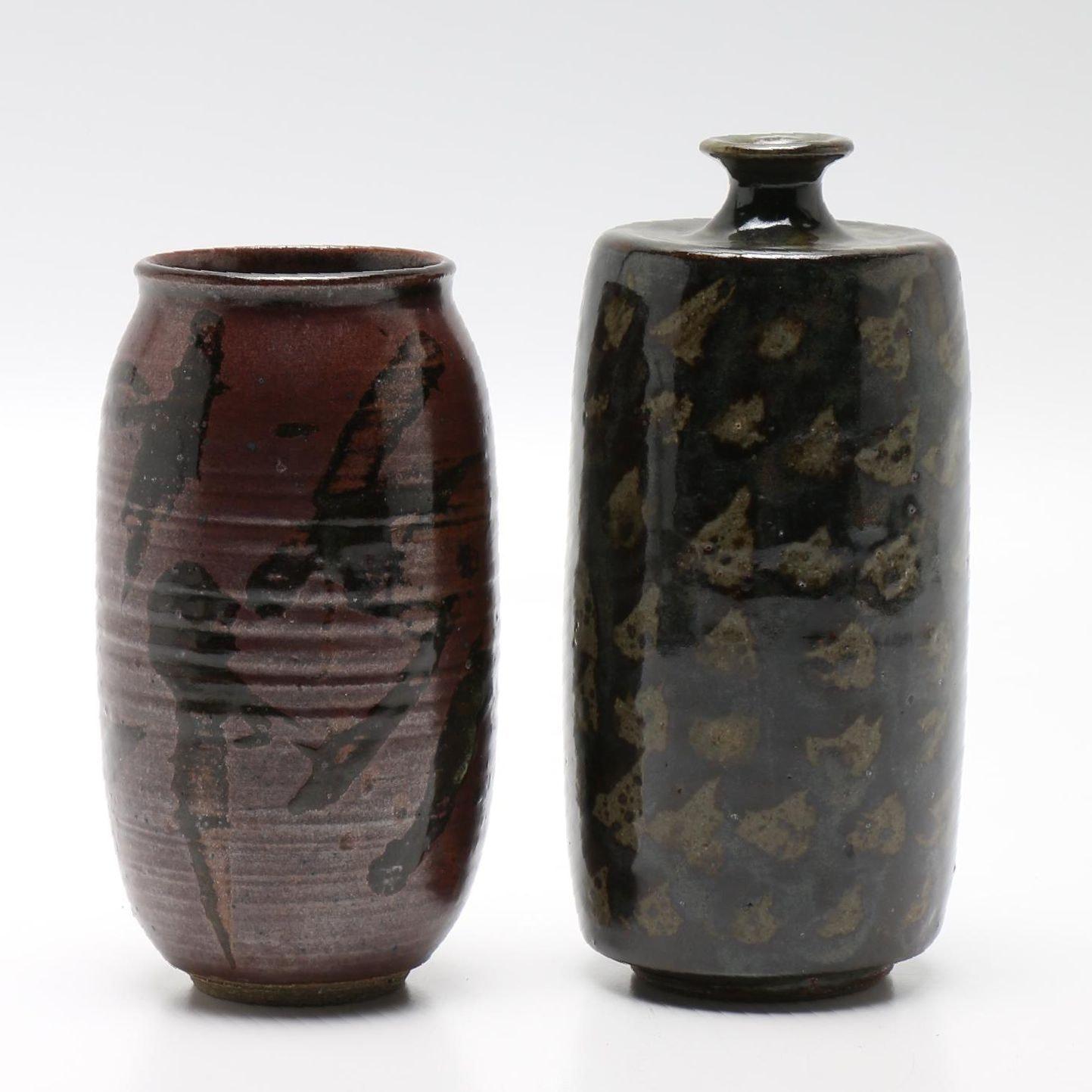 Pair of Hand Thrown Studio Pottery Vases