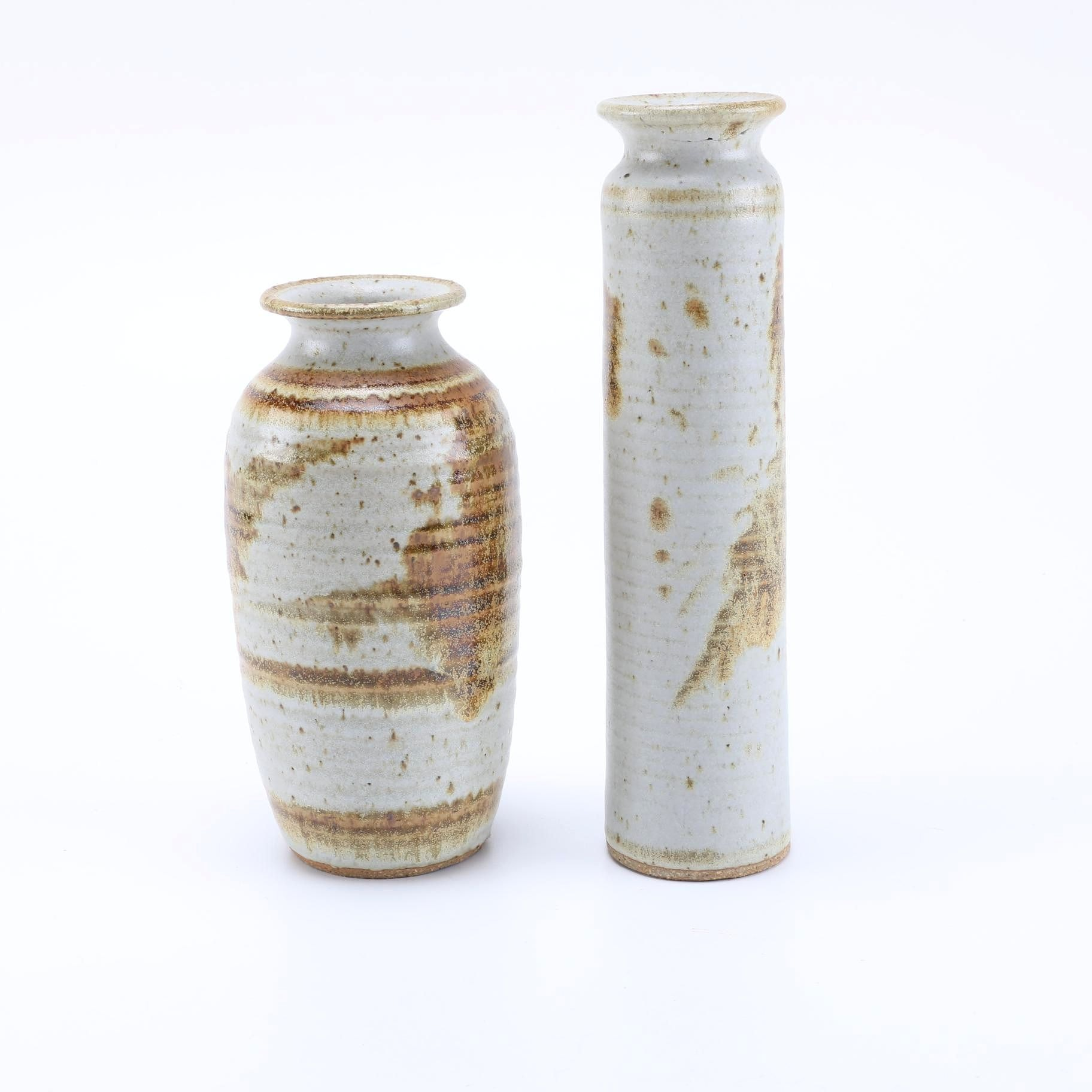 Pair of J. Clark Hand Thrown Stoneware Vases