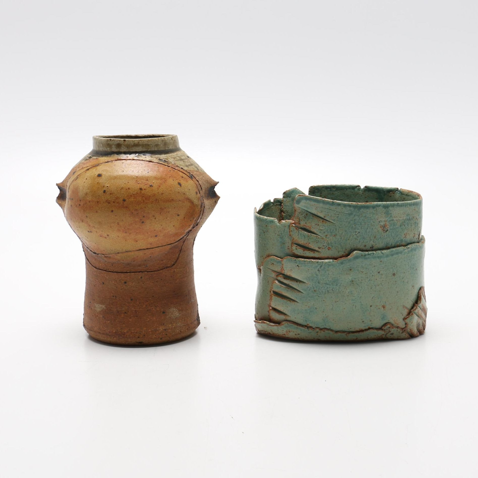 Pair of Thrown and Handbuilt Vessels