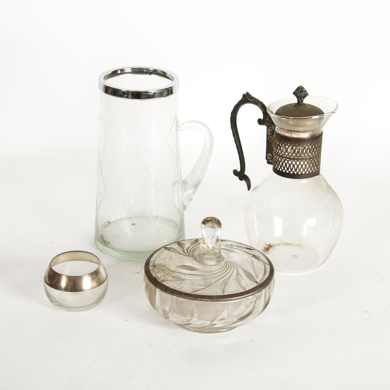 Collection of Vintage Glassware with Silver Plate Rims
