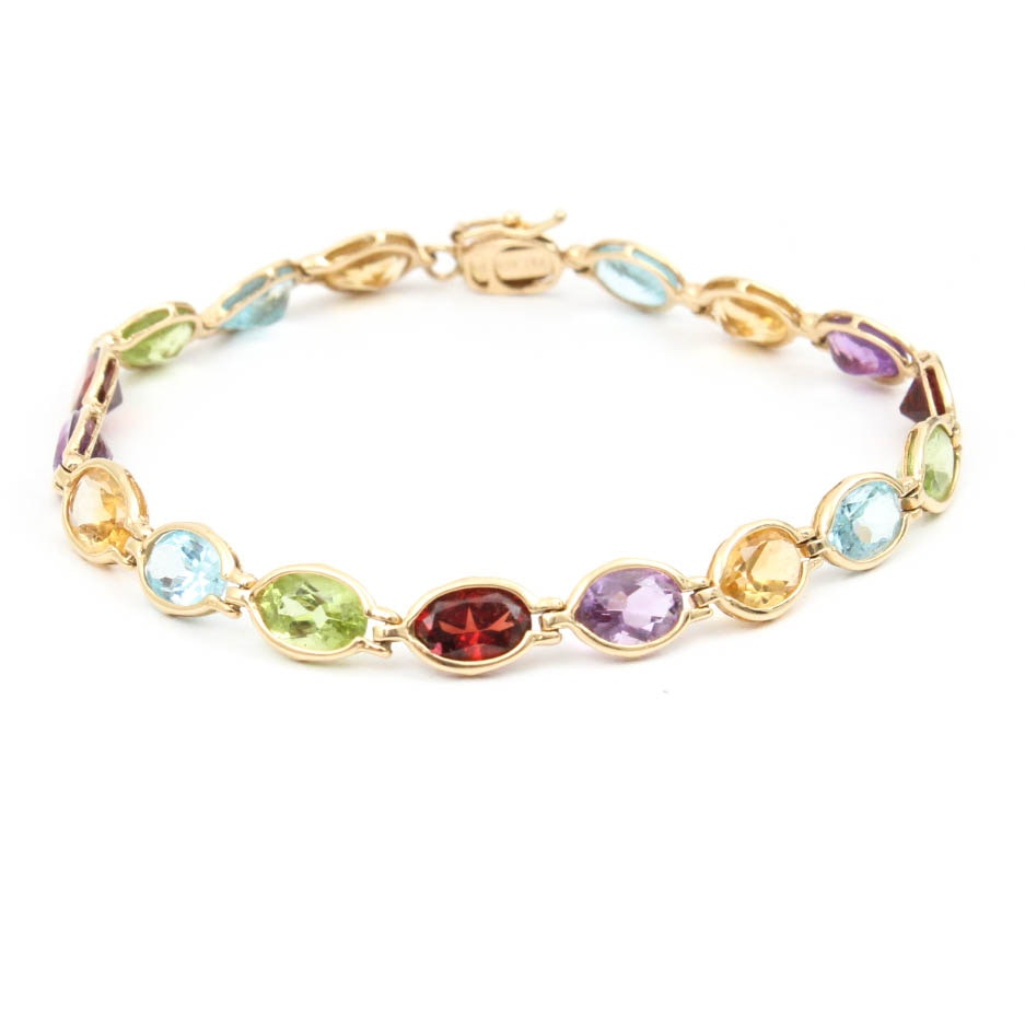 14K Yellow Gold Semi Precious Gemstone Bracelet
