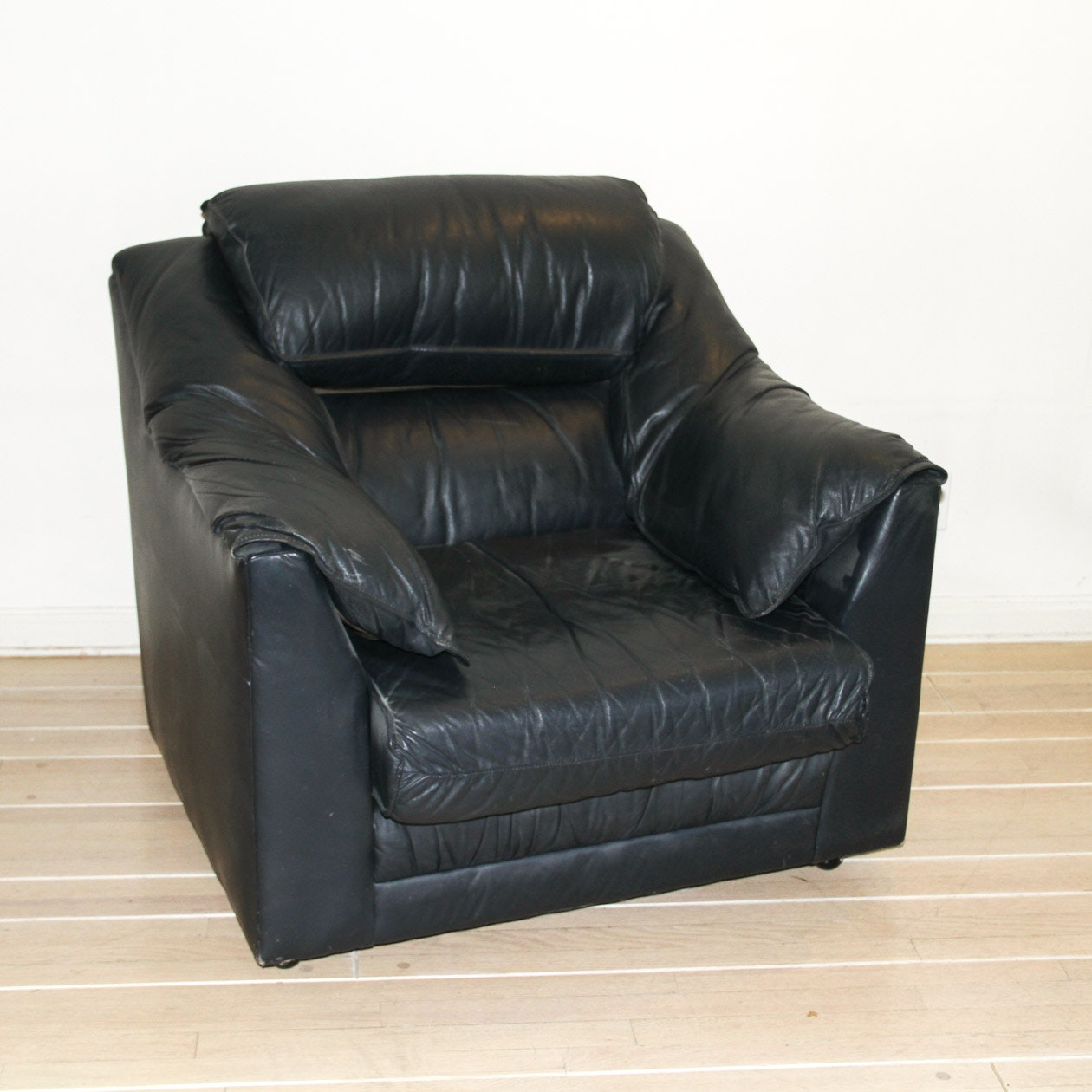 Modern Black Leather Armchair
