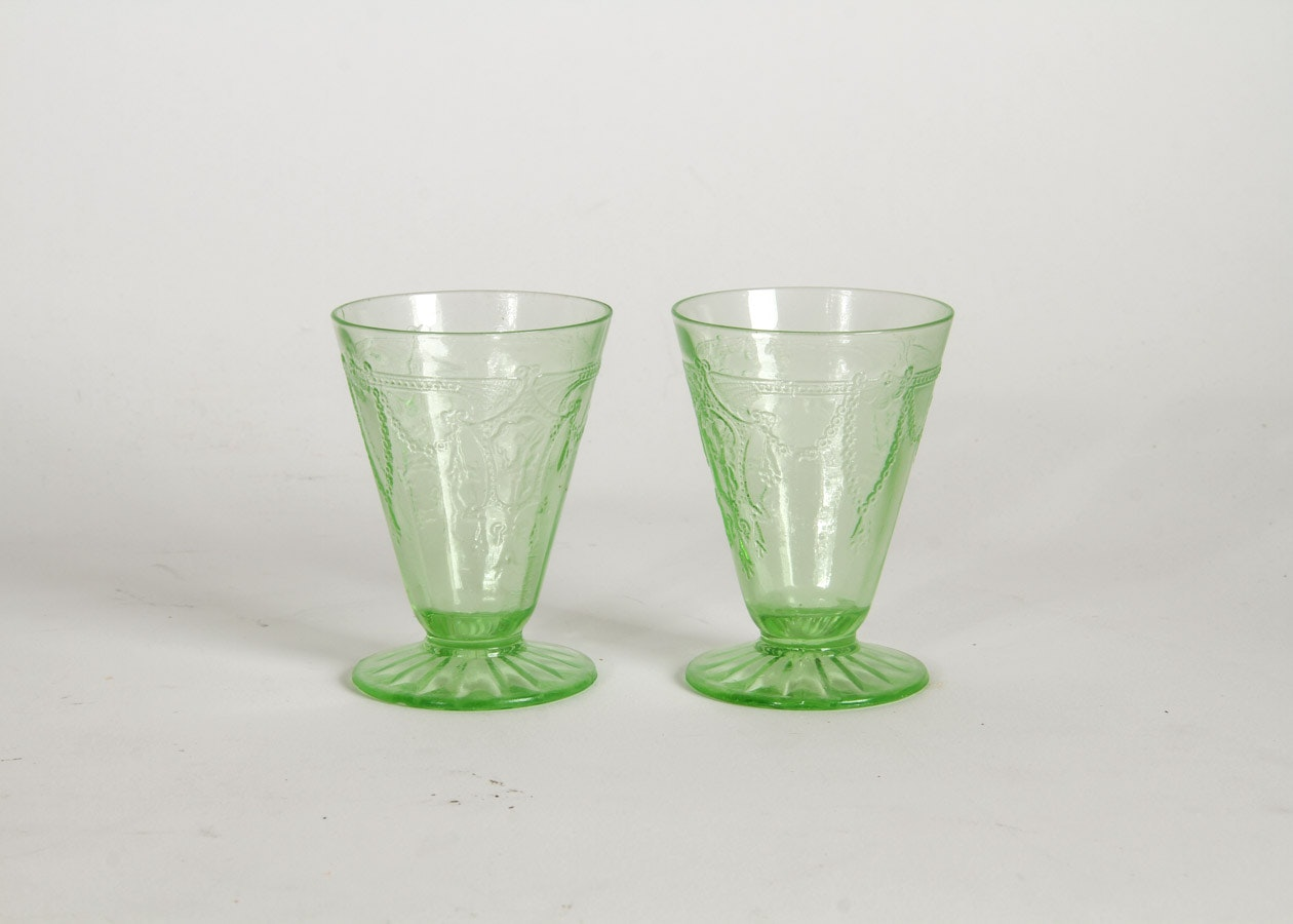 Pair of Green Depression Glass Cups