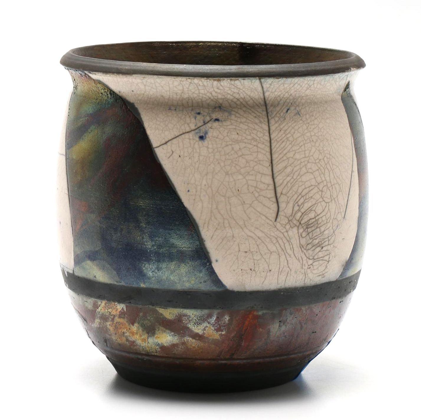 Hand Thrown Inge Stoneware Raku Vase