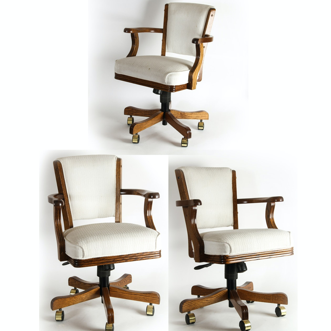 Set of Wooden Swivel Chairs