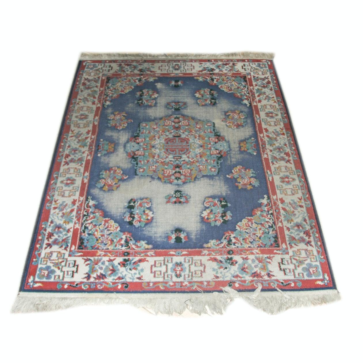 Vintage Machine Woven Chinese Area Rug
