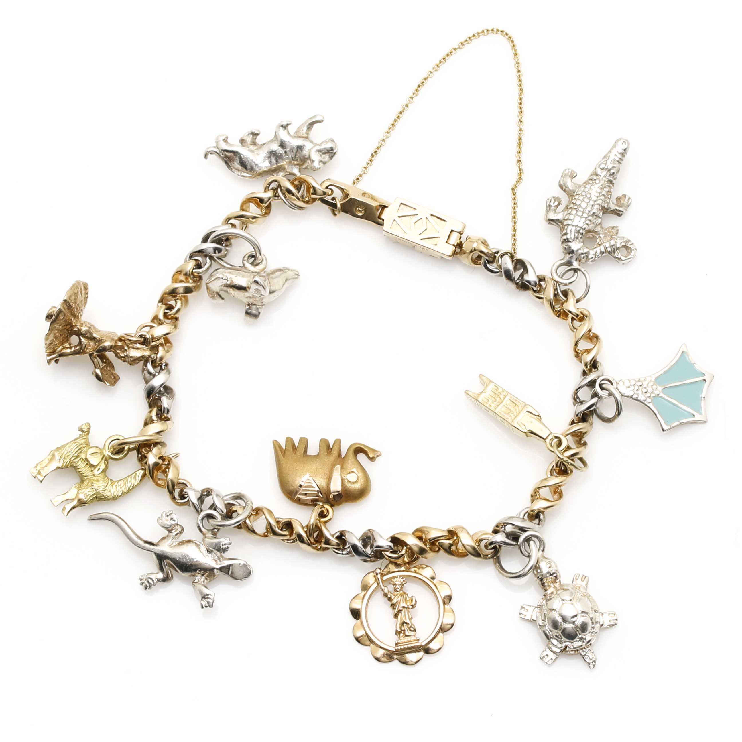 14K Two-Tone Gold Charm Bracelet With Mixed Metal Charms