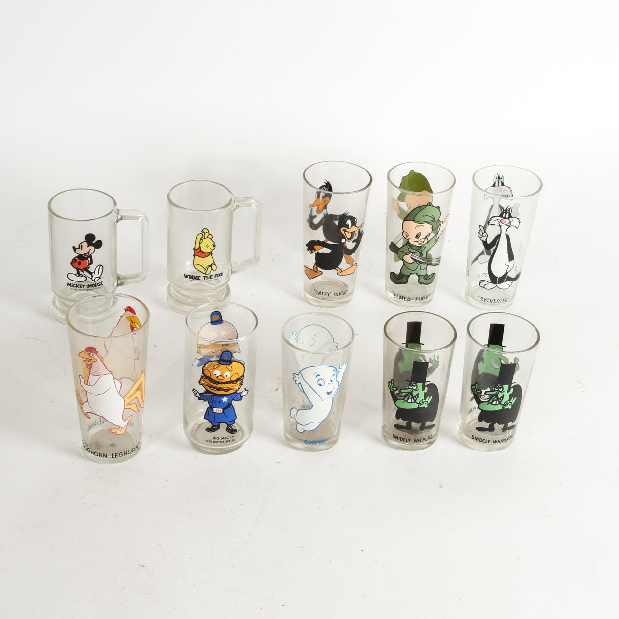 Collection of Vintage Collectible Cartoon Glasses