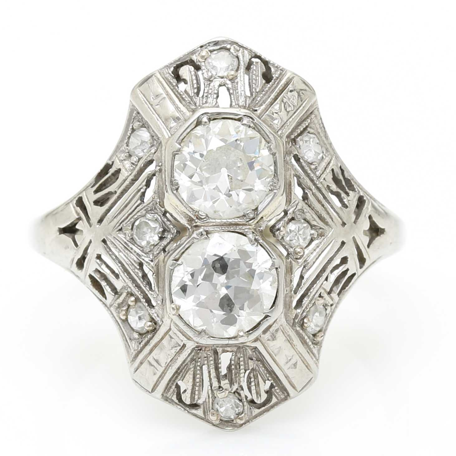 18K White Gold Late Edwardian Two Stone Diamond Dinner Ring