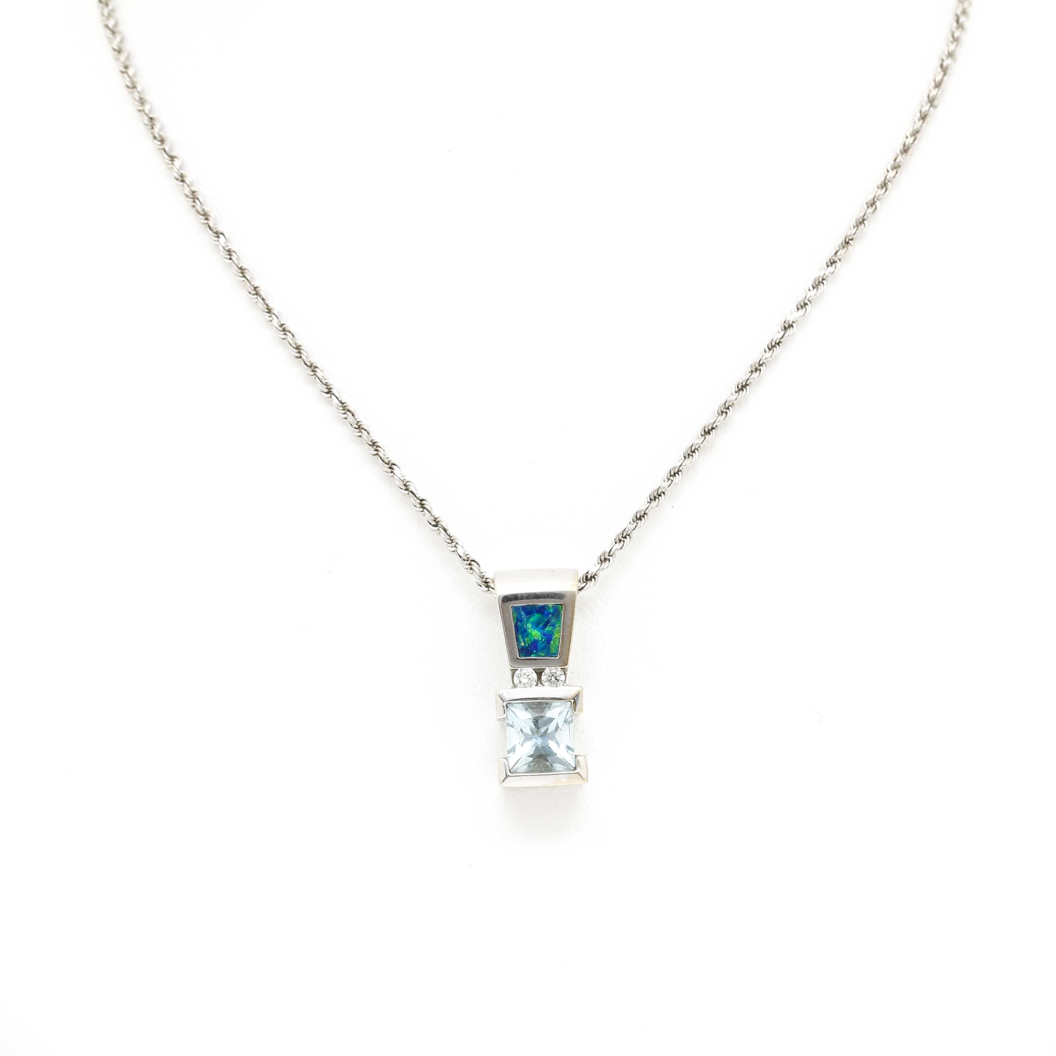 14K White Gold Aquamarine and Opal Inlay Pendant Necklace