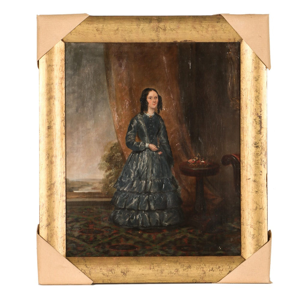 """Mid 19th Century Raymond Wilks Attributed Oil on Canvas """"Portrait of a Lady in a Interior"""""""